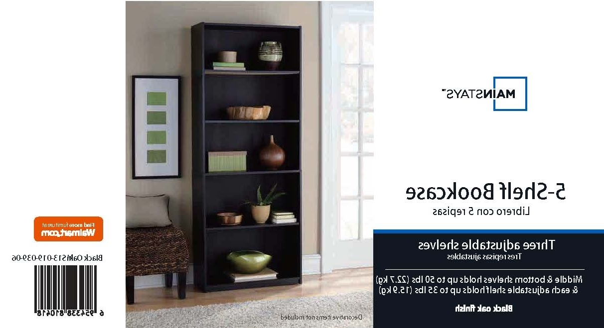 Current Mainstays 5 Shelf Wood Bookcase, Set Of 2, (mix And Match Intended For Walmart 3 Shelf Bookcases (View 12 of 15)