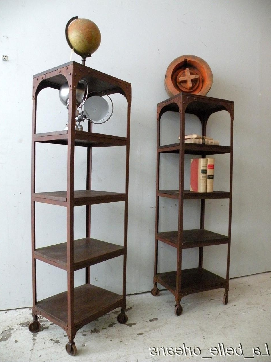 Current Pair Of Vtg Industrial Etagere/bookcases On Wheels For Sale For Etagere Bookcases (View 3 of 15)