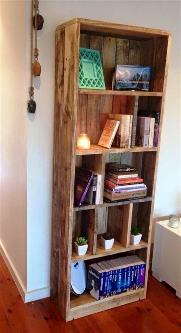 Current Pallet Bookcases For Pallet Display Tower/bookcase – 20 Recycled Pallet Ideas – Diy (View 2 of 15)