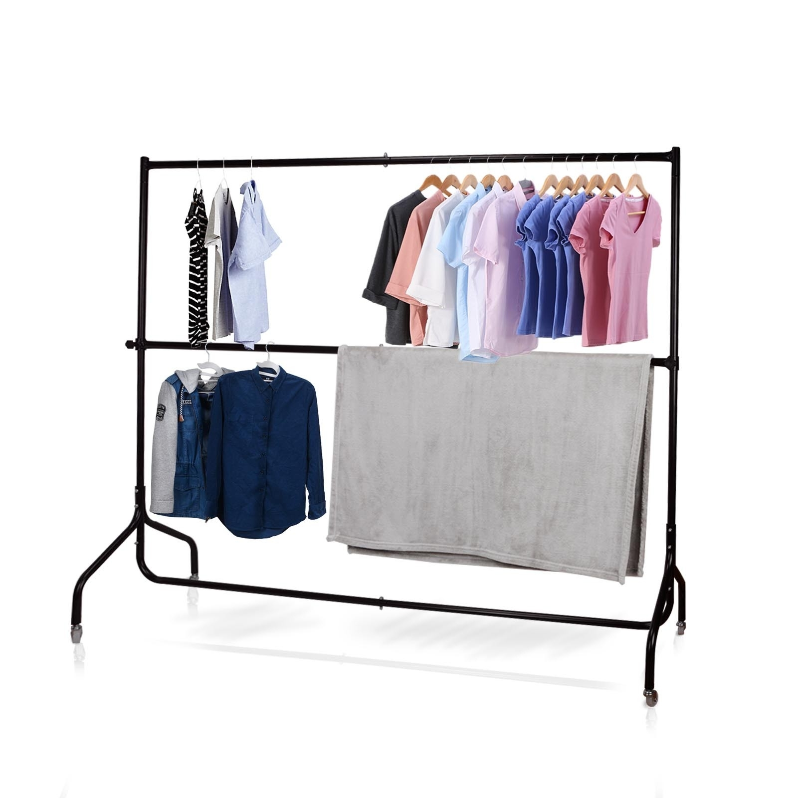 Current Voilamart 6ft Metal Clothes Rail Stand Heavy Duty Rack Garment Inside Double Clothes Rail Wardrobes (View 11 of 15)