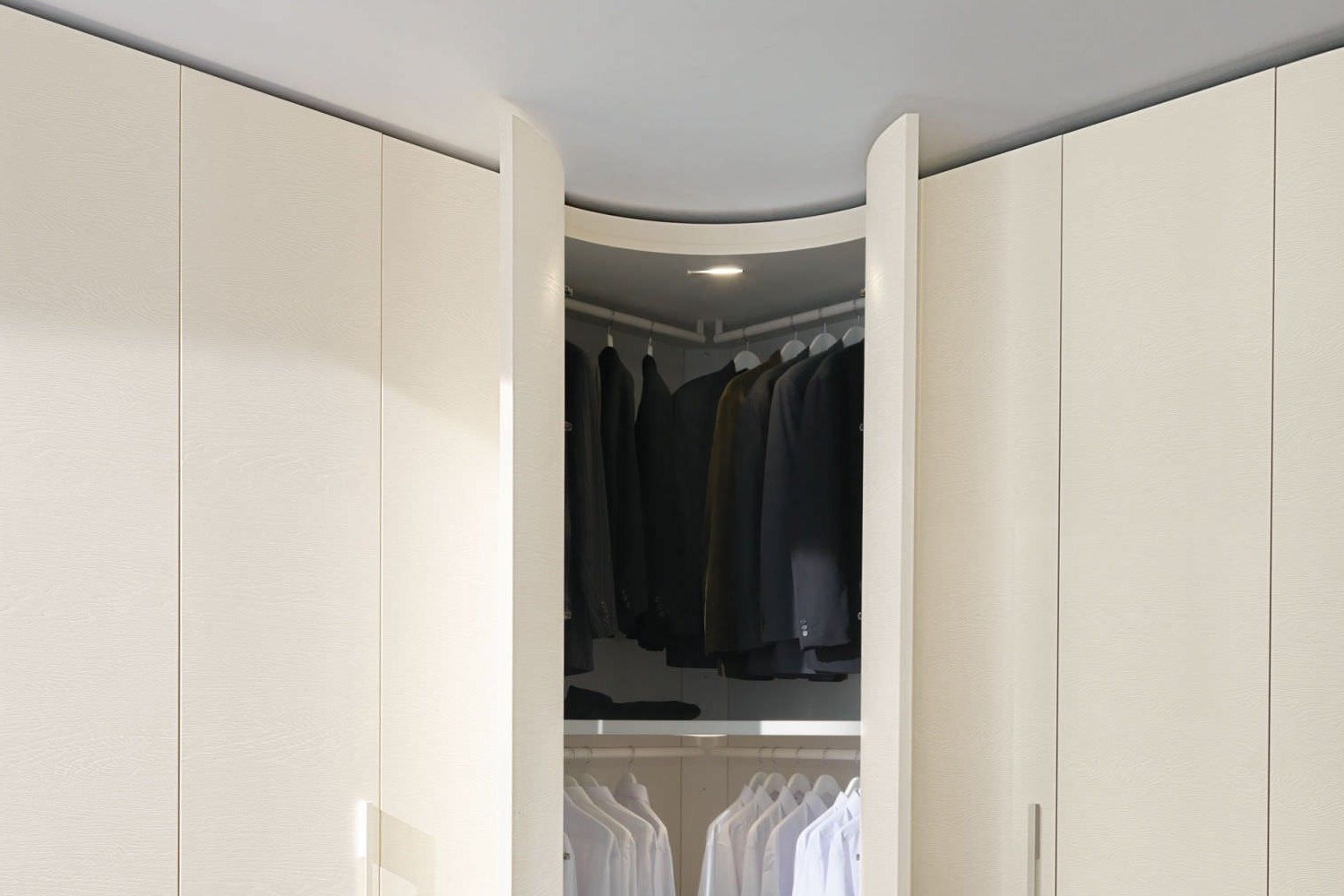 Curved Wardrobe Doors Throughout Widely Used Corner Wardrobe / Contemporary / Wooden / Glossy Lacquered Wood (View 6 of 15)