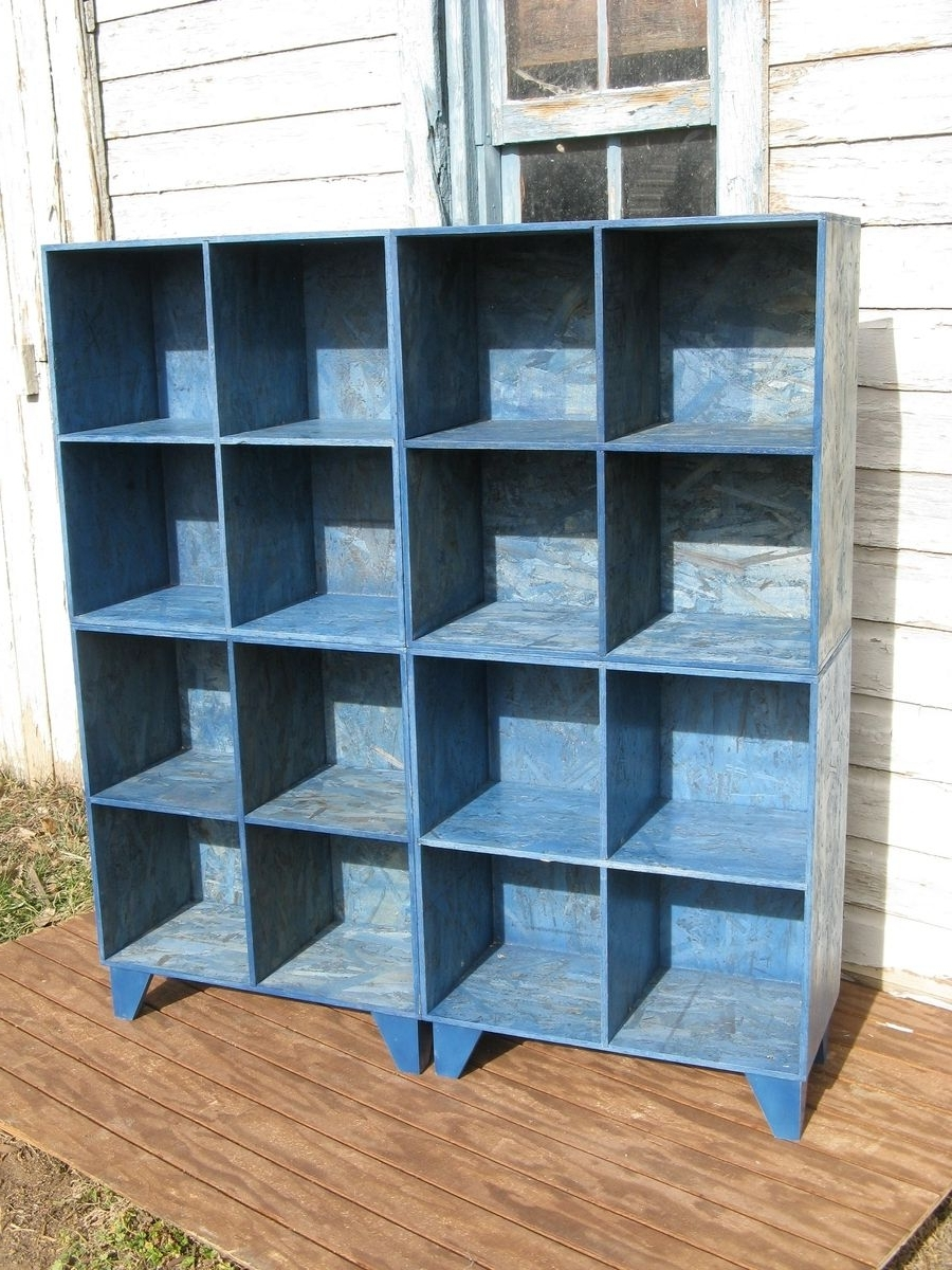 Custom Blue Osb Cubby Bookcasesmodular Osb (View 14 of 15)