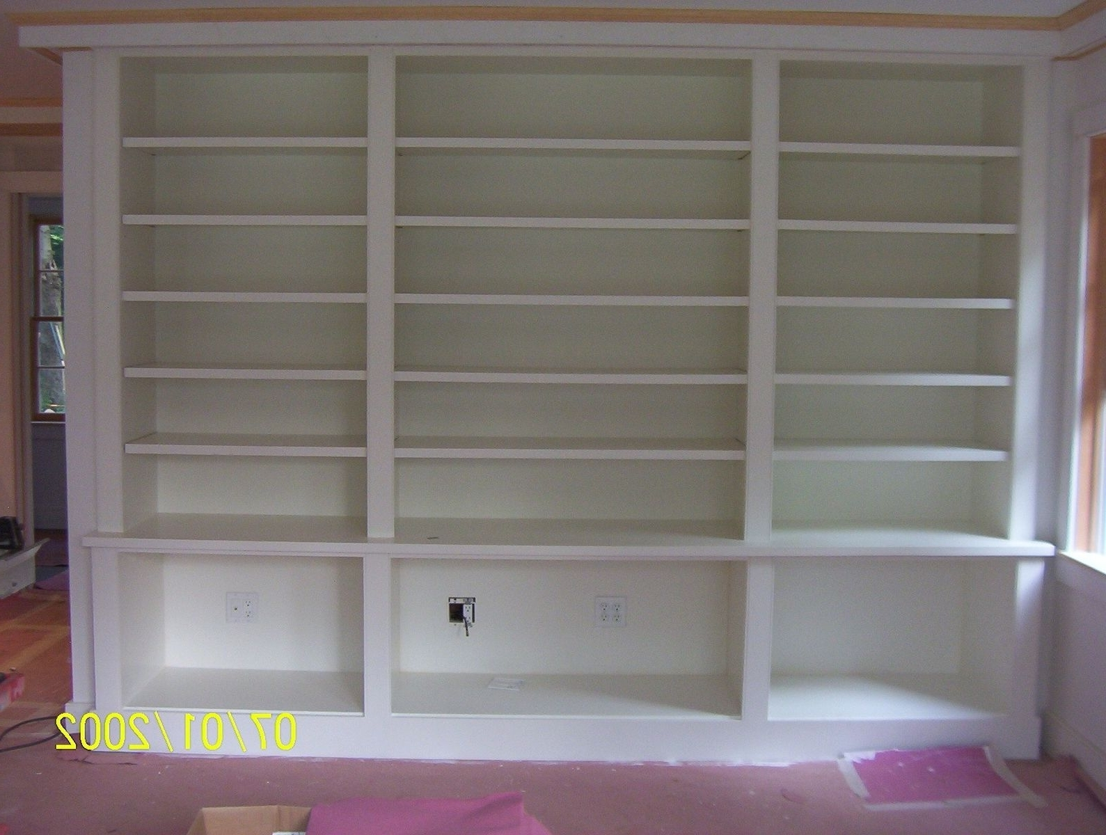 Custom Made Painted Built In Bookcasebrenda Hall Wood Design Regarding Fashionable Painted Wood Bookcases (View 3 of 15)