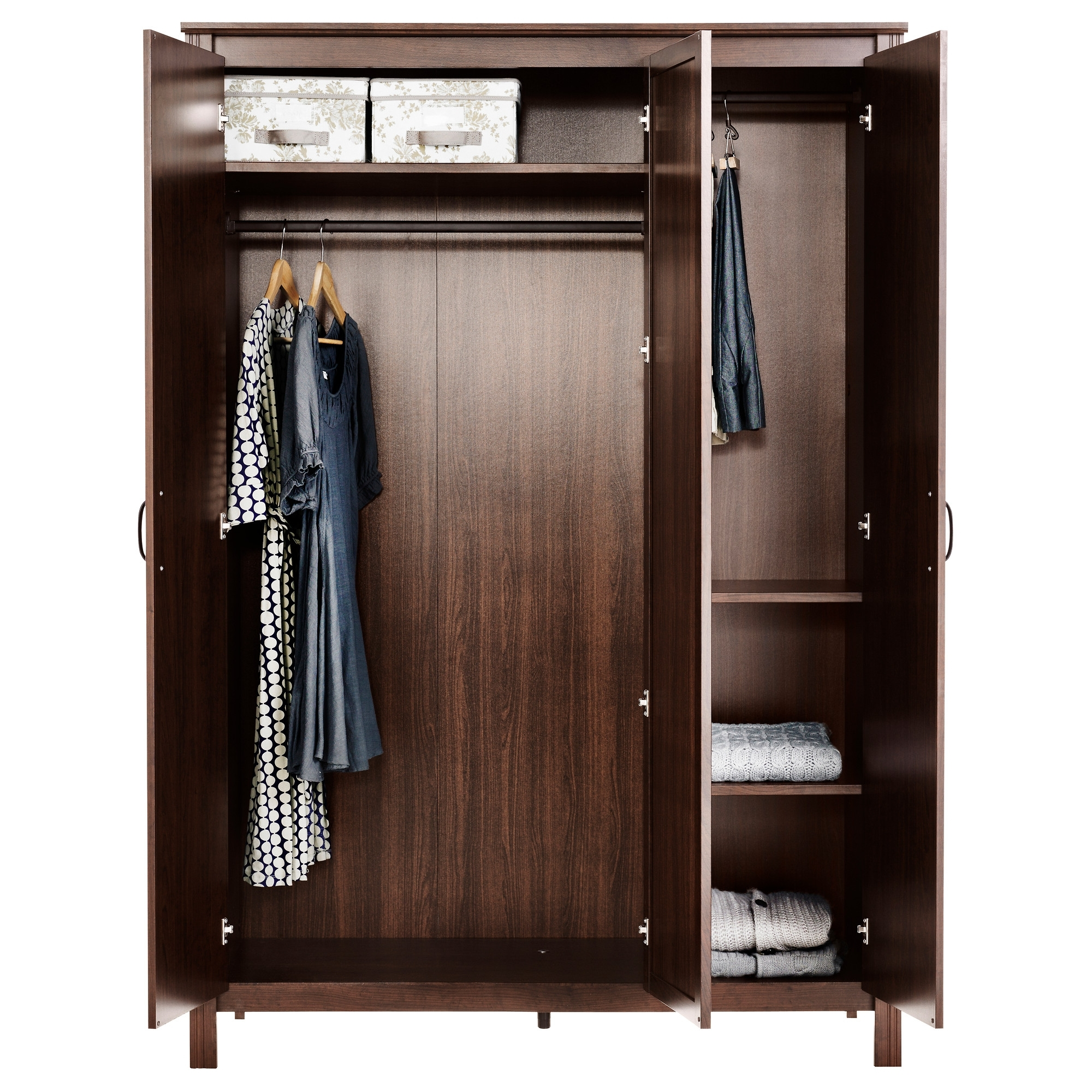 Dark Wood Wardrobes With Drawers For Most Current Modern Large Dark Wooden Wardrobe Closet With Doors And Hanger Rod (View 5 of 15)