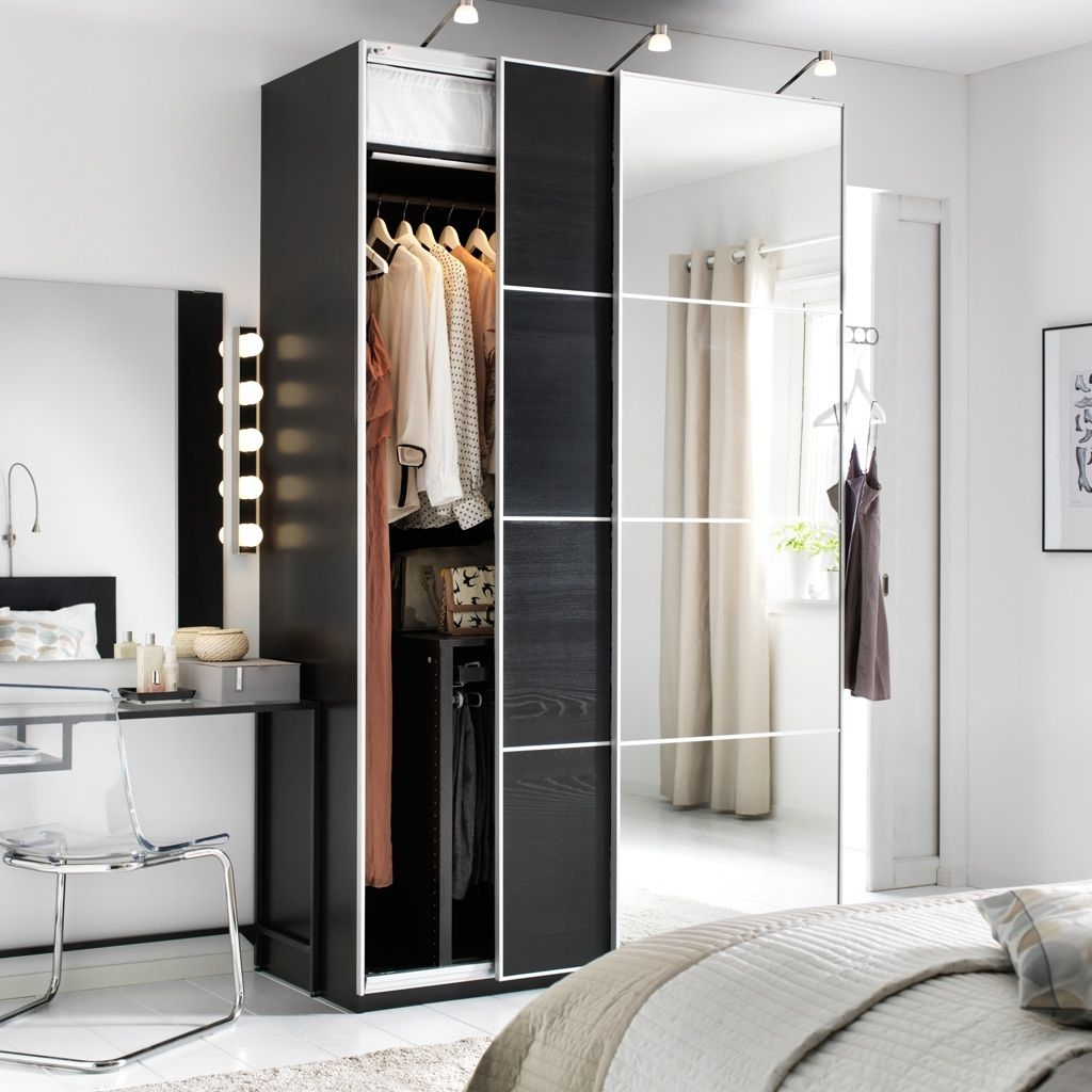 Featured Photo of Dark Wood Wardrobes With Mirror