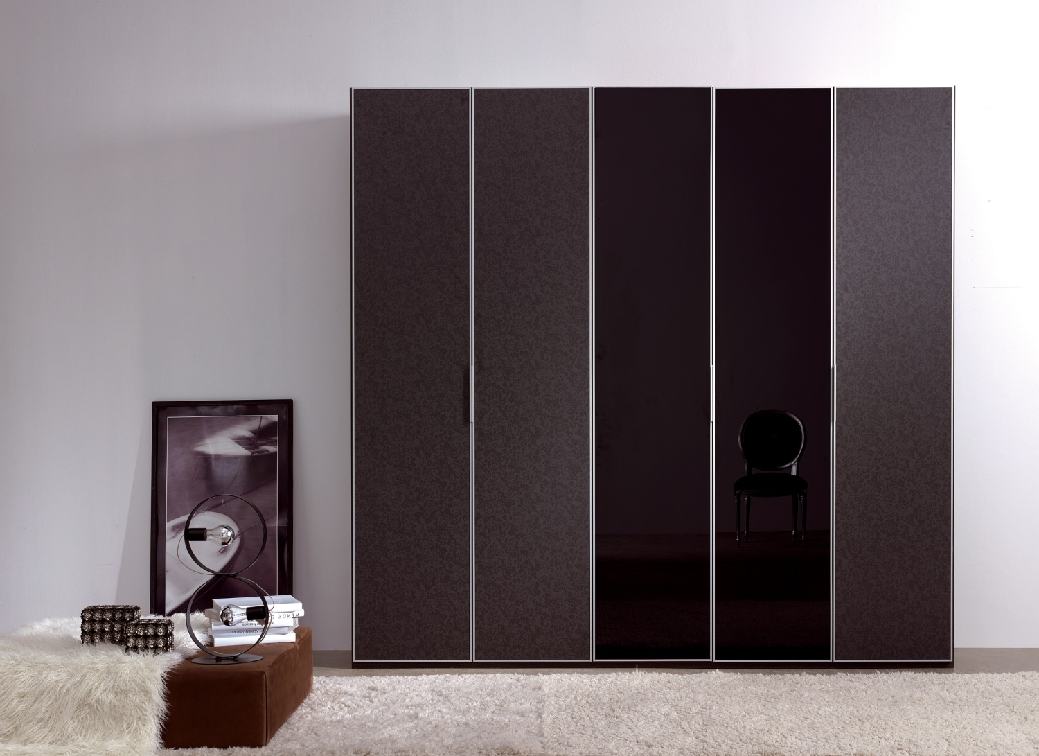 Dark Wood Wardrobes With Mirror Intended For Most Recently Released Interesting Modern Gray Black Interior Wardrobe Design Ideas (View 3 of 15)