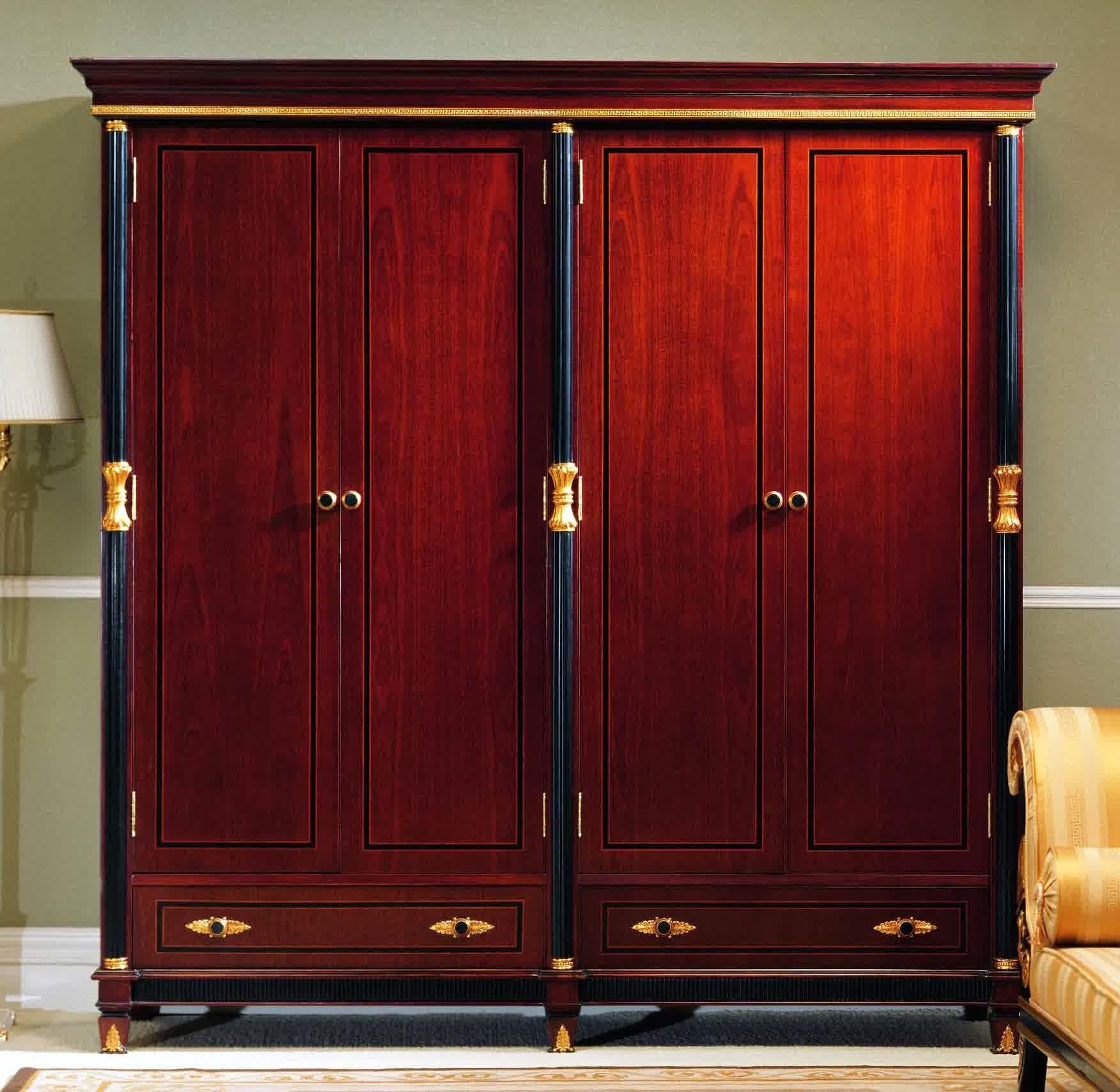 Dark Wood Wardrobes With Mirror Intended For Widely Used Furniture: Exciting Armoire Wardrobe For Interior Storage Design (View 4 of 15)