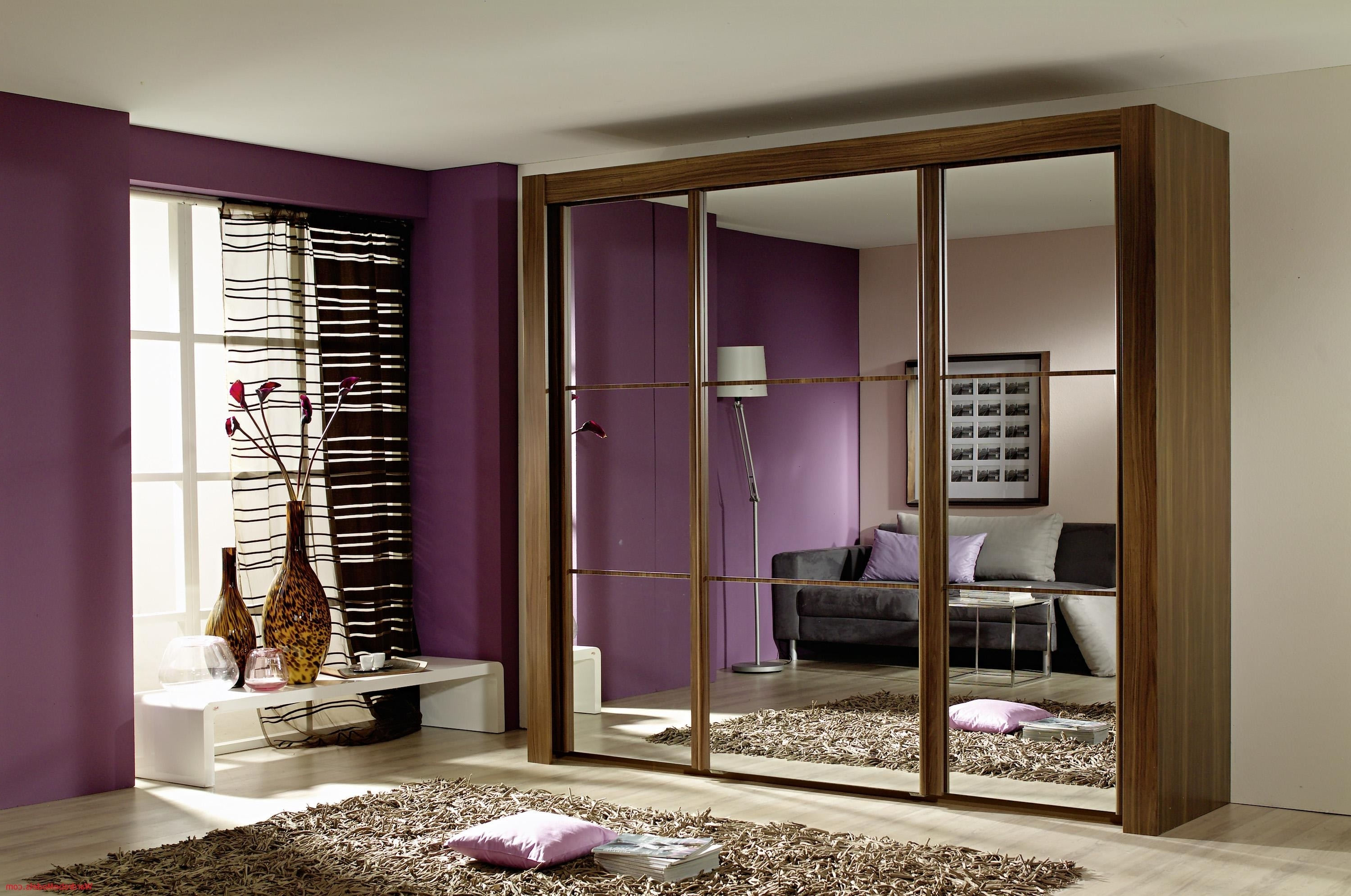Dark Wood Wardrobes With Mirror Throughout Trendy Amazing Modern Small Bedroom With Brown Laminated Wooden Wardrobe (View 5 of 15)