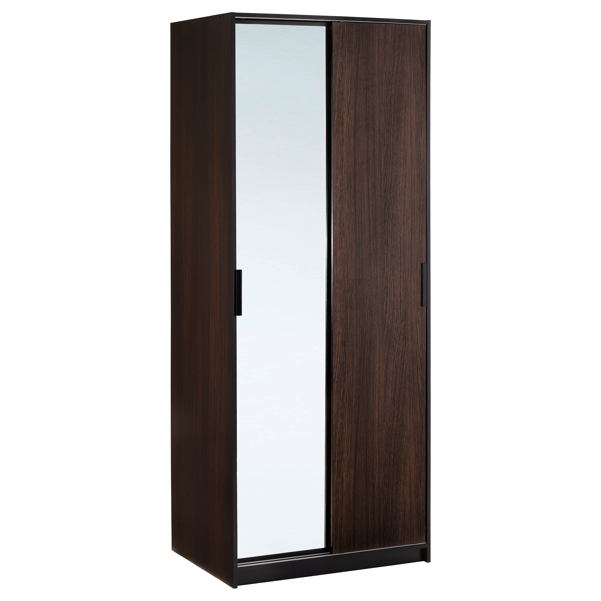 Dark Wood Wardrobes With Mirror With Most Recently Released Trysil Wardrobe – Ikea (View 6 of 15)