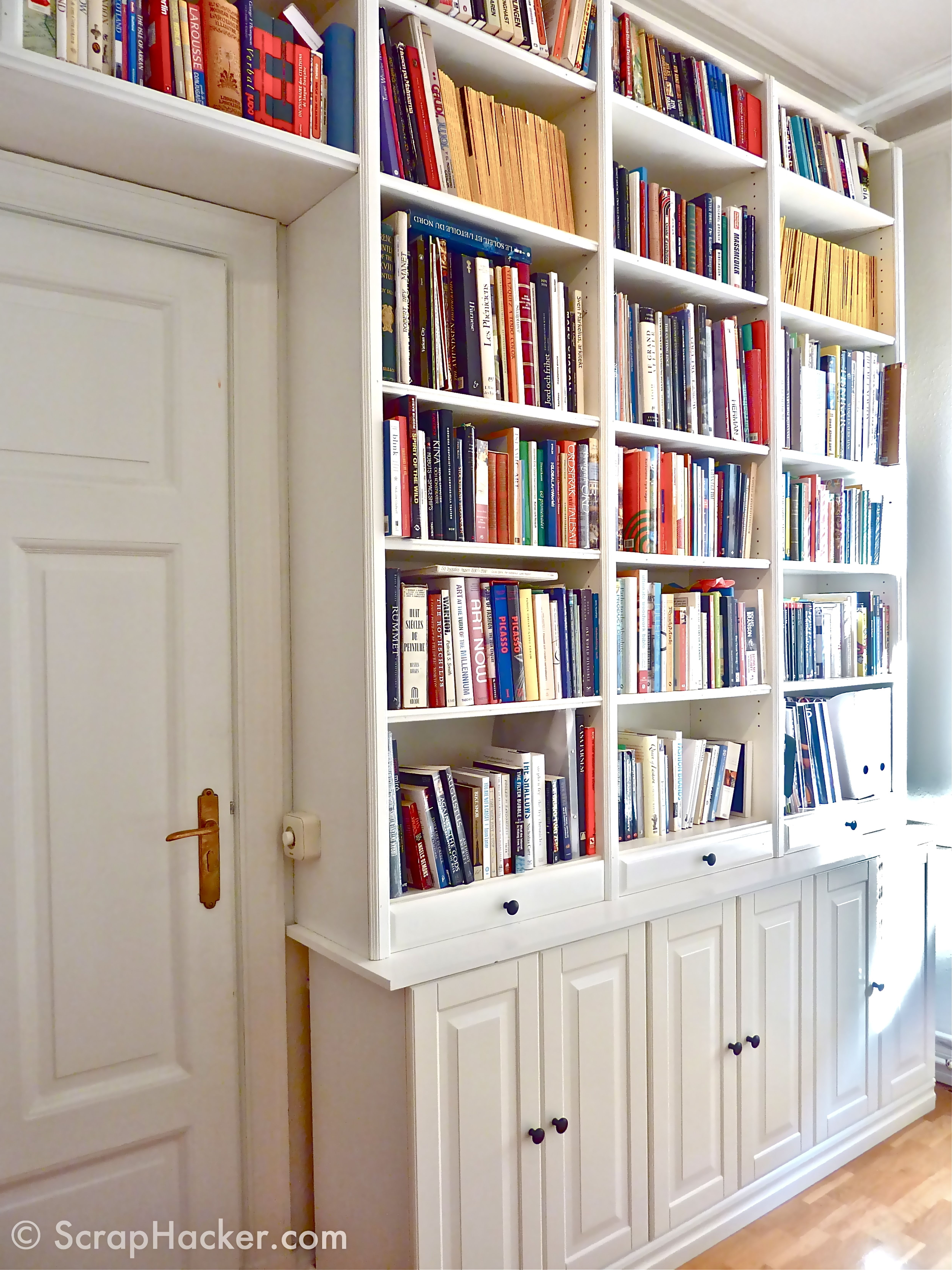 Decorating: White Tall Narrow Bookcase With Drawers And Library In Trendy White Library Bookcases (View 4 of 15)