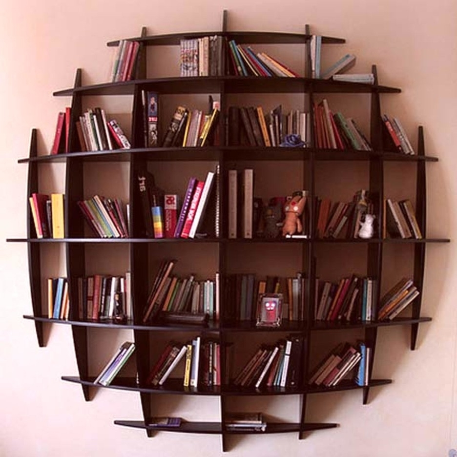 Decorative Dark Painted Wooden Floating Bookcase With Circle Shape Throughout Latest Floating Bookcases (View 15 of 15)