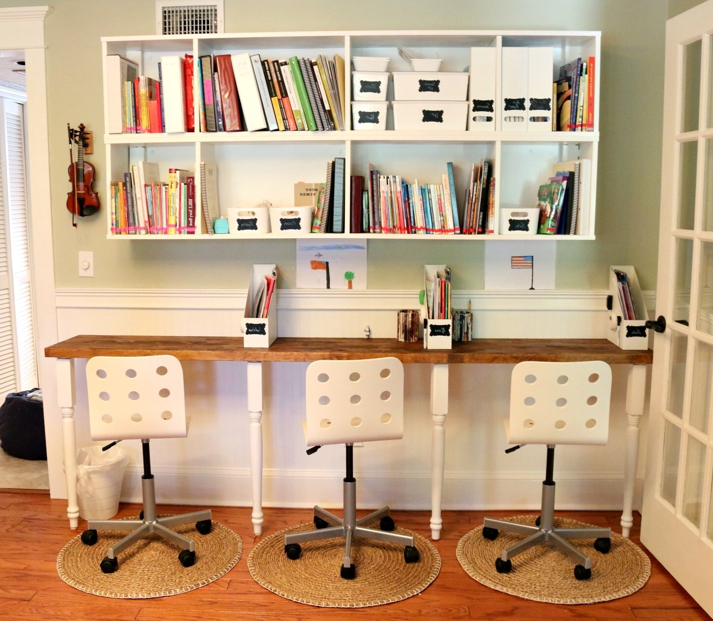 Desk Bookcases Regarding Trendy Furniture : Home Office Design With Rustic Office Desk And White (View 5 of 15)
