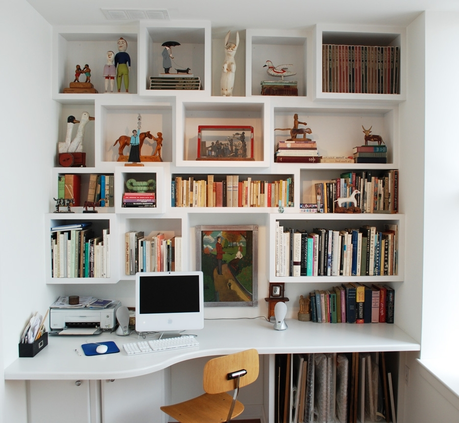 Desk With Matching Bookcases Within Famous Built In Desk And Shelves Freeman Custom Carpentry (View 3 of 15)