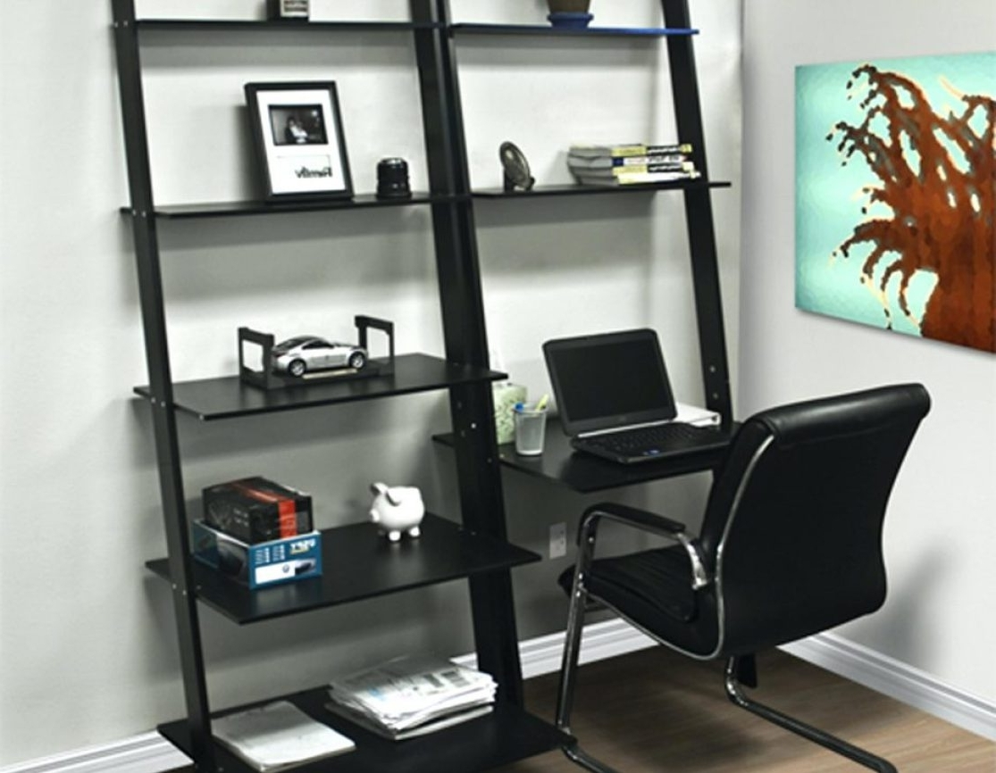 Desktop Bookcases In Preferred Desk : Wonderful Leaning Shelf Bookcase With Computer Desk Office (View 4 of 15)