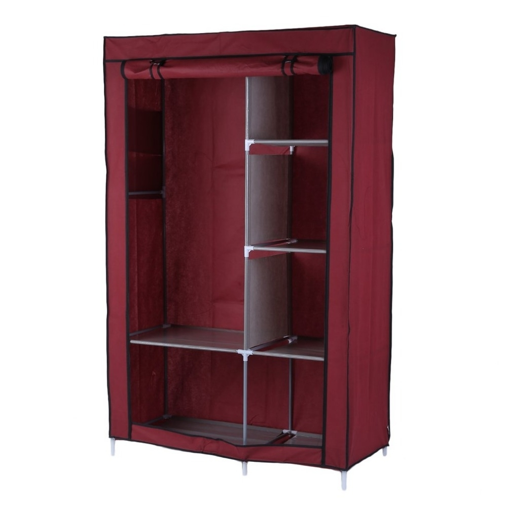 Discount Wardrobes In Famous Portable Wardrobe Diy Anti Dust Moisture Proof Non Woven Foldable (View 6 of 15)