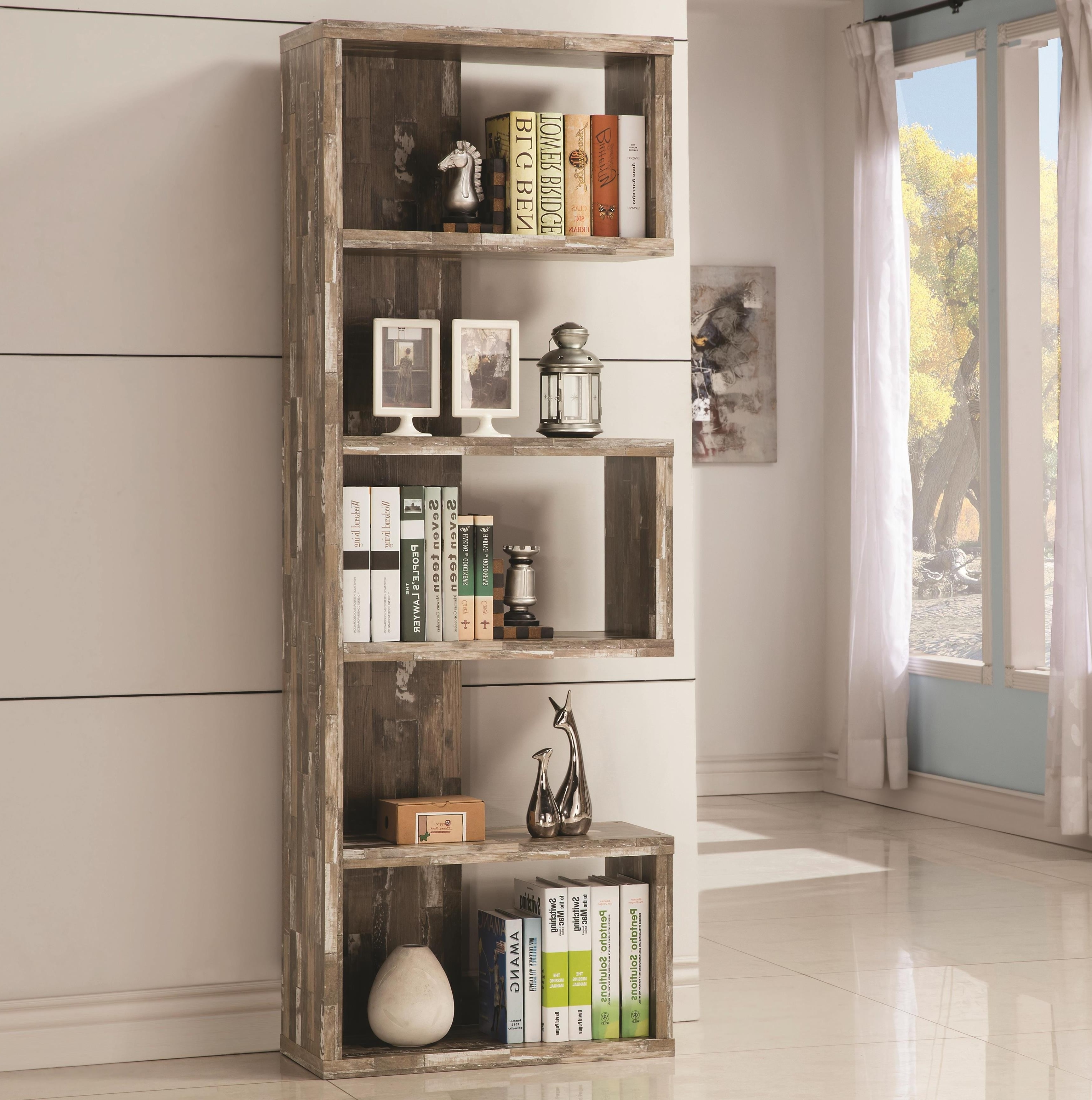 Distressed Wood Bookcases In Well Known Bookcase 18+ Awesome Distressed Wood Photos Concept Bookcases With (View 5 of 15)