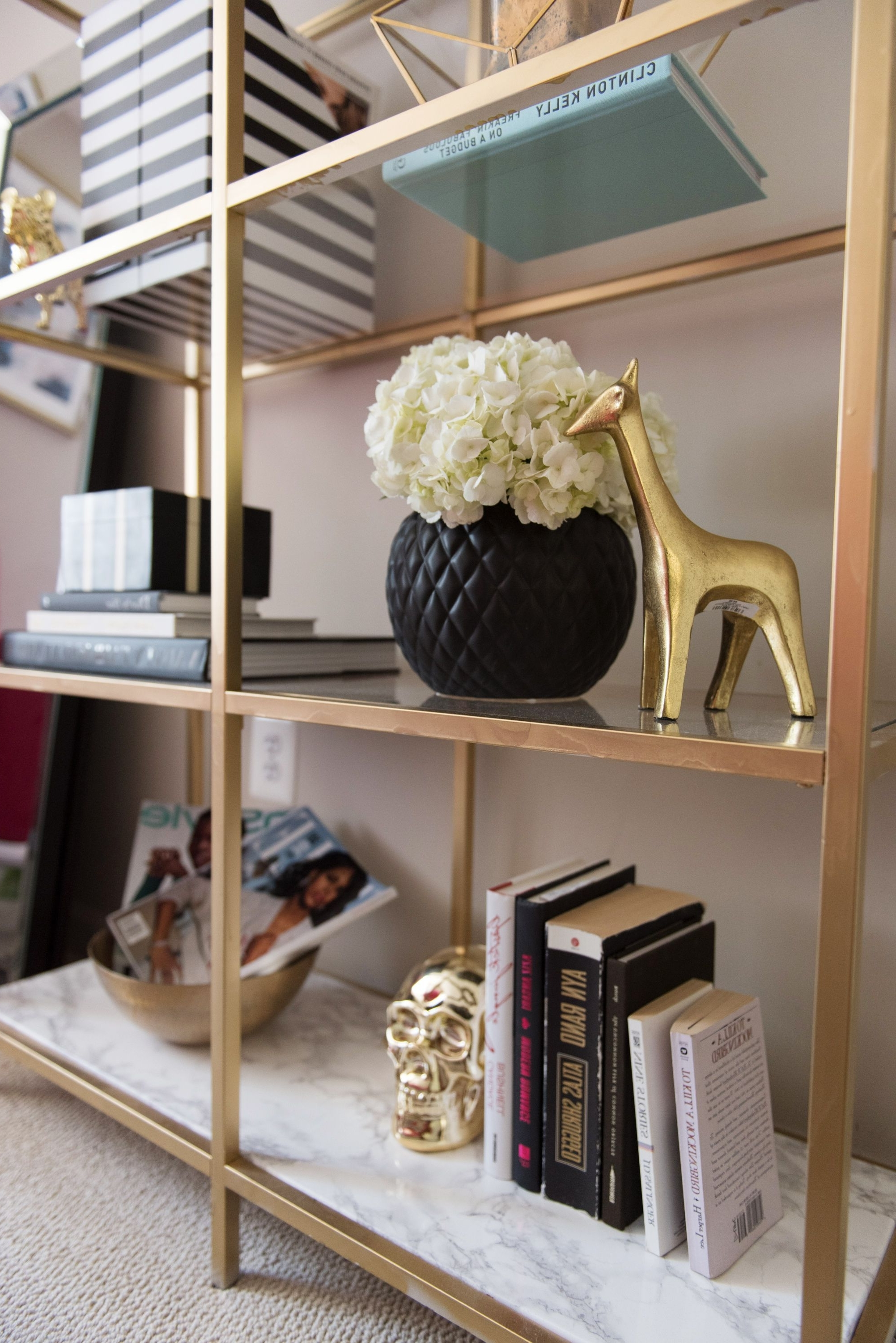 Diy Gold & Marble Ikea Bookcase Hack (View 6 of 15)