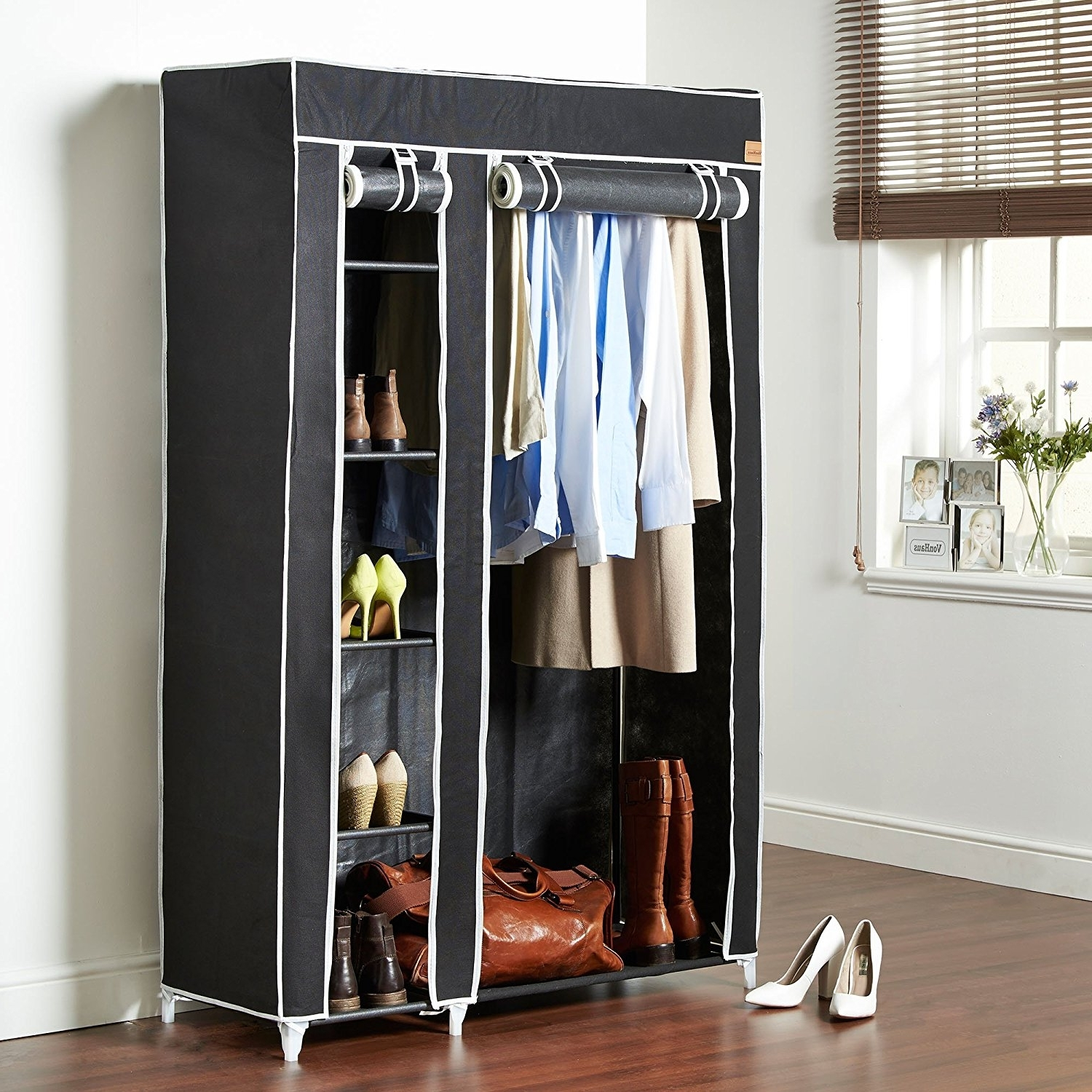 Double Black Covered Tidy Rail Wardrobes Throughout Popular Vonhaus Double Canvas Effect Wardrobe – Clothes Storage Cupboard (View 5 of 15)
