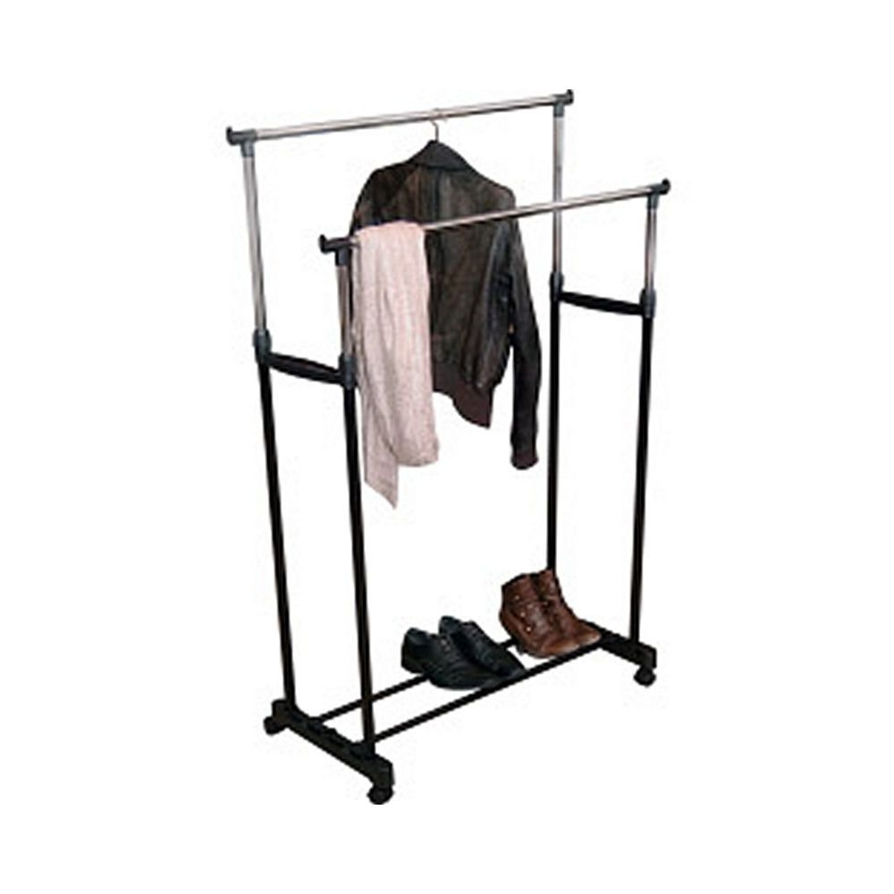 Double Clothes Rail Wardrobes In Most Popular Double Clothes Rail Wardrobe Storage Shoe Shelf Adjustable Home (View 15 of 15)