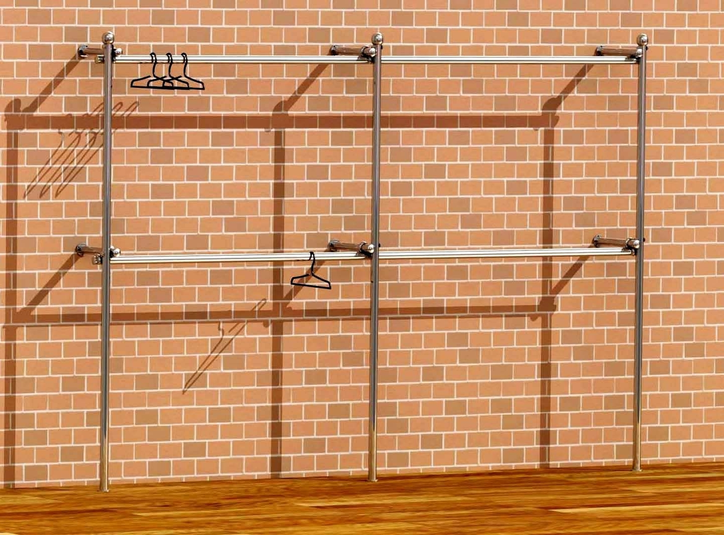Double Clothes Rail Wardrobes With Regard To Well Known Tube & Clamp Walk In Wardrobe Wall Clothes Rack Fashion Shop (View 13 of 15)
