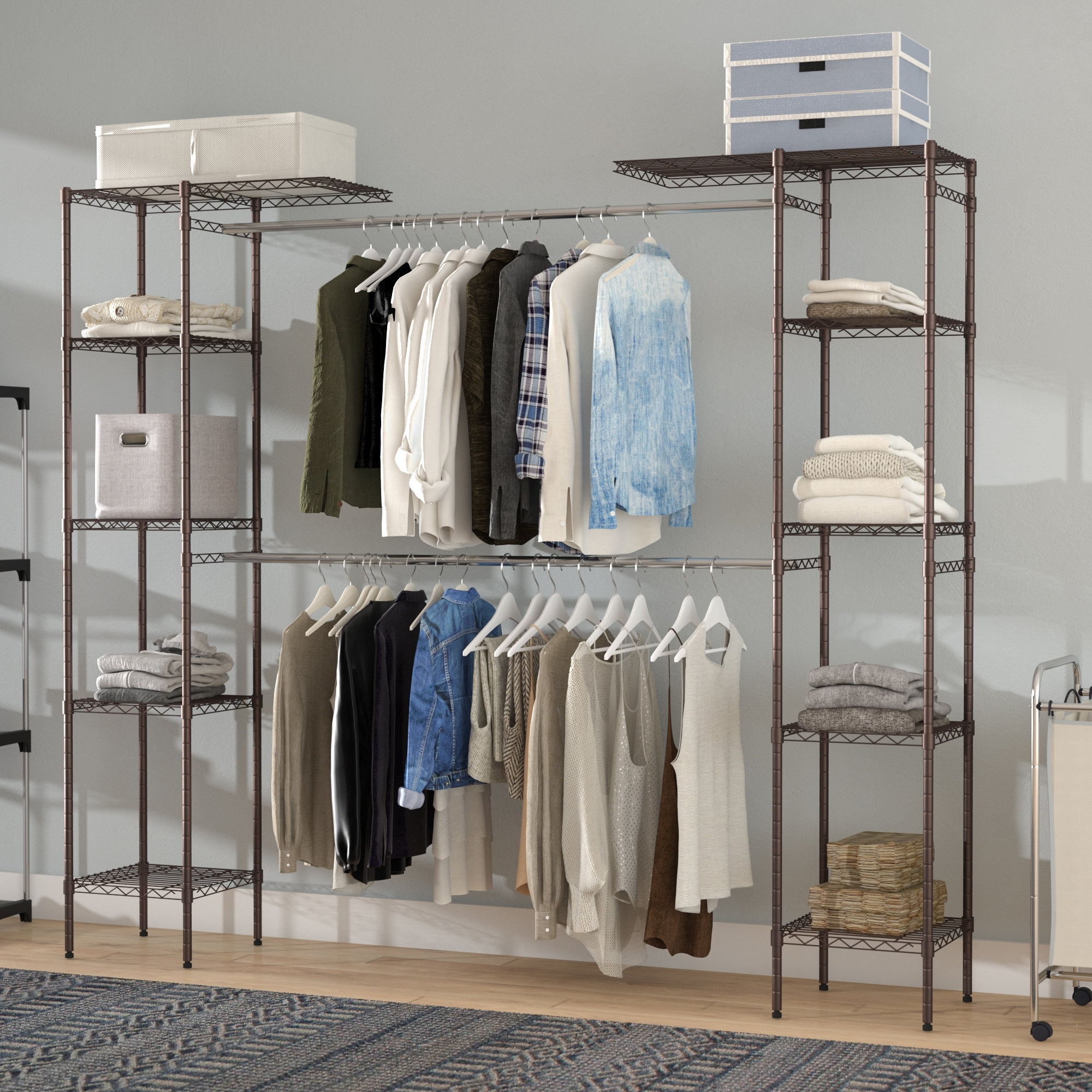 Double Hanging Wardrobe Closet (View 14 of 15)