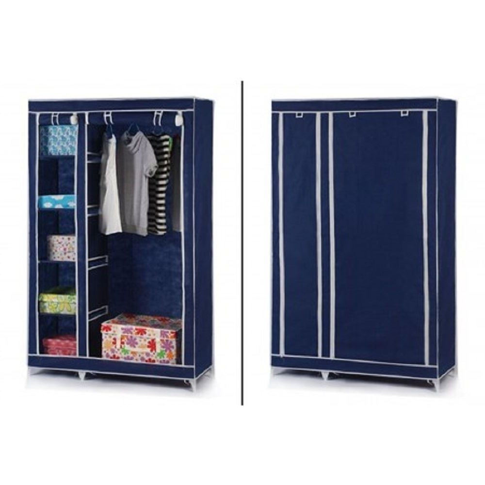 Double Rail Canvas Wardrobes Throughout Most Recently Released Vinsani Double Canvas Wardrobe Clothes Cupboard Hanging Rail (View 13 of 15)