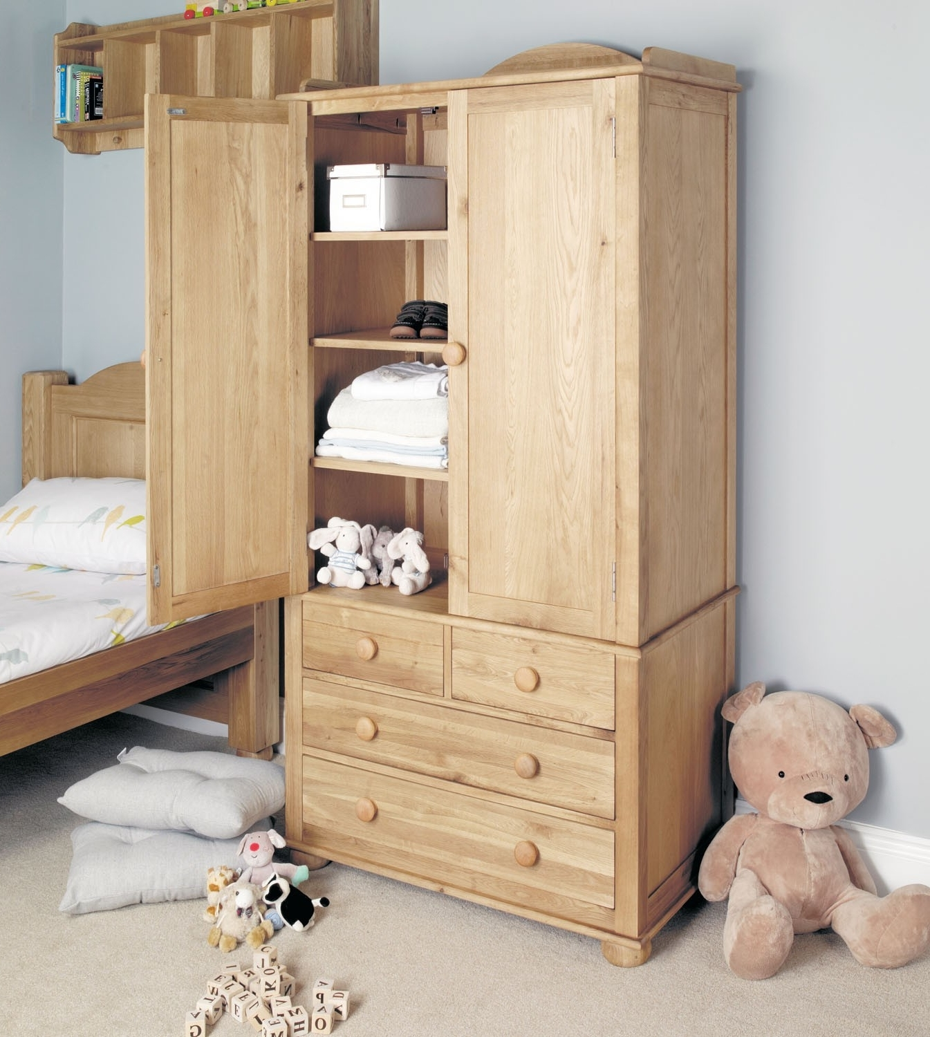 Double Rail Childrens Wardrobes With Famous Amelie Oak Childrens Double Wardrobe – Amelie Oak Children's (View 4 of 15)