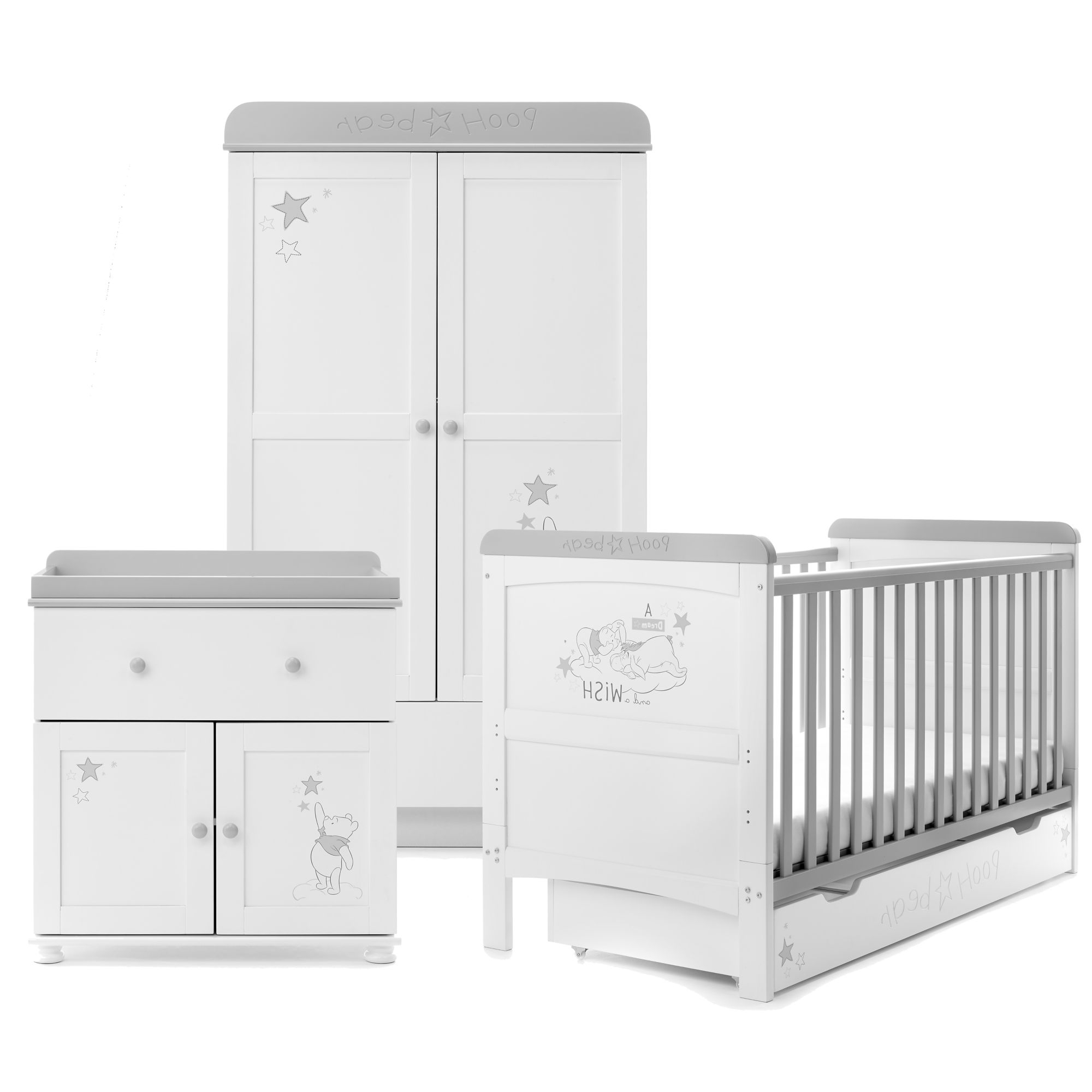 Double Rail Nursery Wardrobes In Most Recently Released Disney Winnie The Pooh 3 Piece Nursery Furniture Set – Dreams (View 14 of 15)