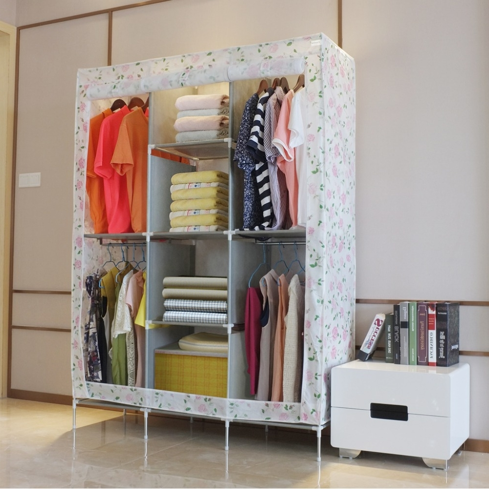 Double Rail Single Wardrobes Within Current Finether Double Modular Metal Framed Fabric Wardrobe Clothes (View 6 of 15)