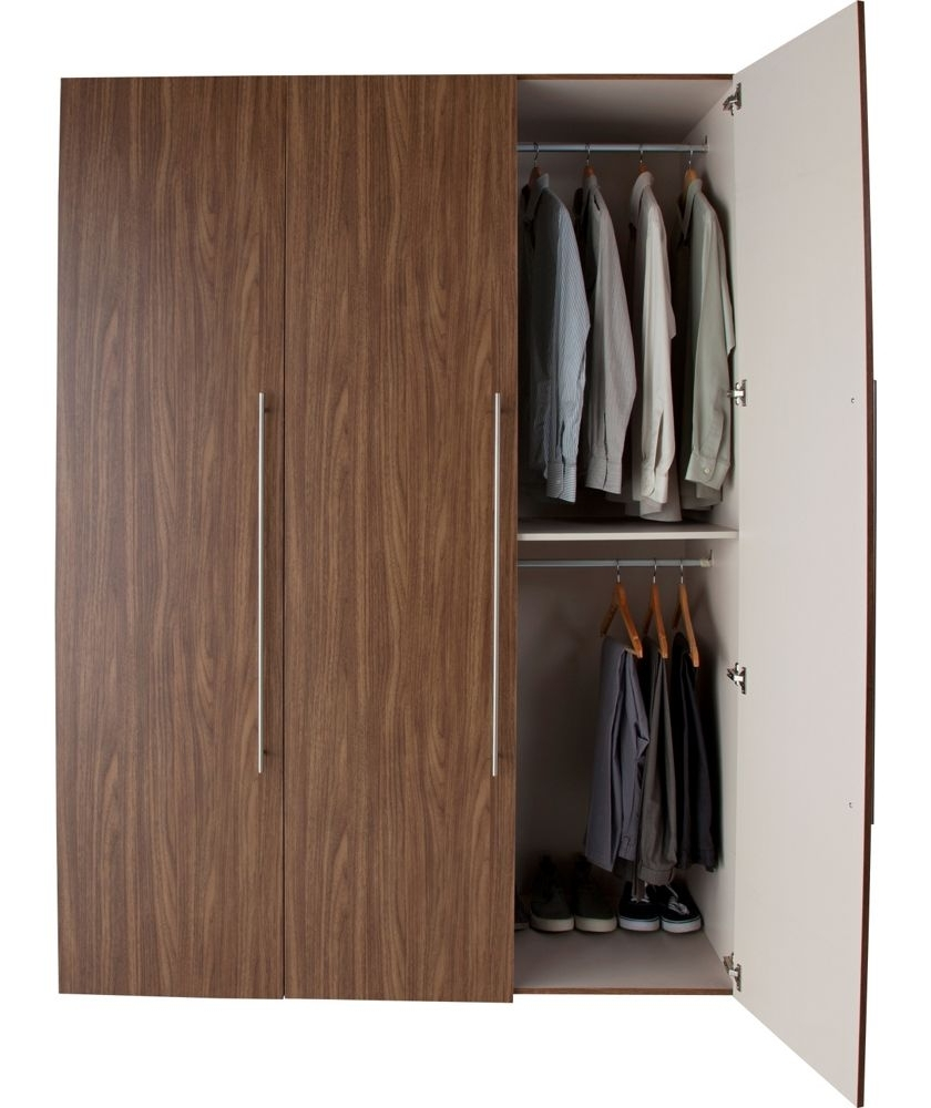 Double Rail Wardrobes Argos For Latest Buy Atlas 3 Door Tall Wardrobe – Walnut Effect At Argos.co (View 8 of 15)