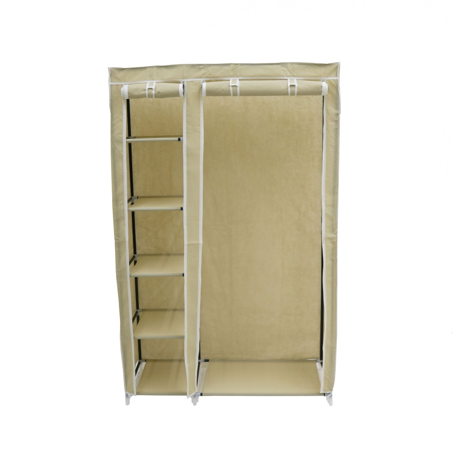 Double Rail Wardrobes With Regard To Most Recent Double Cream Canvas Wardrobe Clothes Rail Hanging Storage Closet (View 12 of 15)