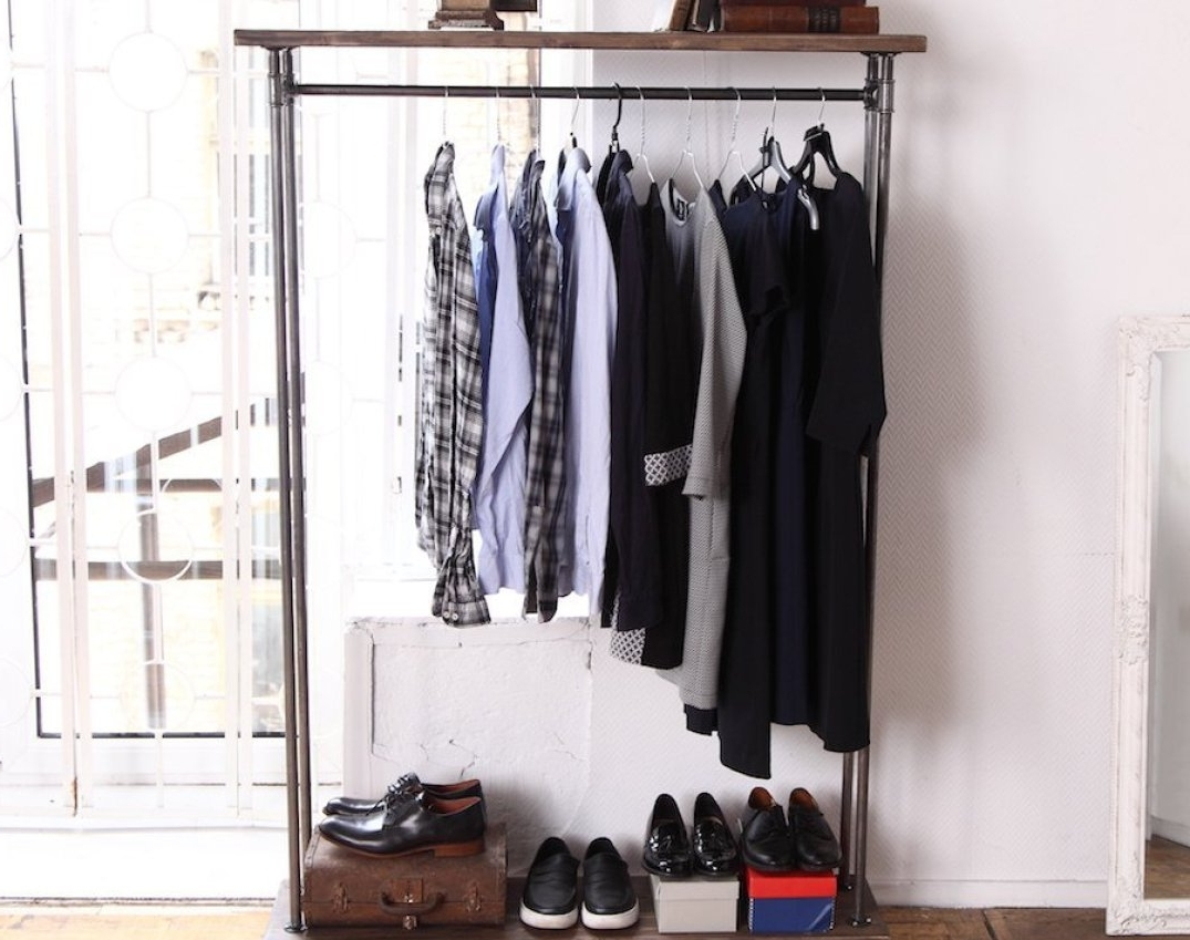 Double Up Wardrobes Rails Inside Most Popular Shelf : Wood Double Shelf Clothes Rail Amazing Double Up Wardrobe (View 3 of 15)