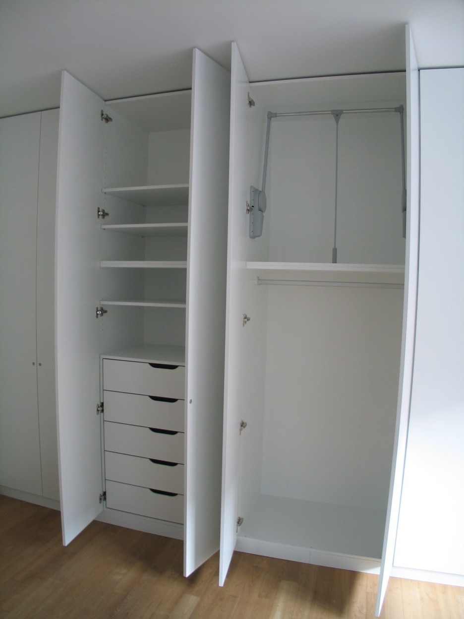 Double Wardrobes With Drawers And Shelves With Regard To Best And Newest High White Wooden Wardrobe With Shelves Also Five Drawers Combined (View 2 of 15)