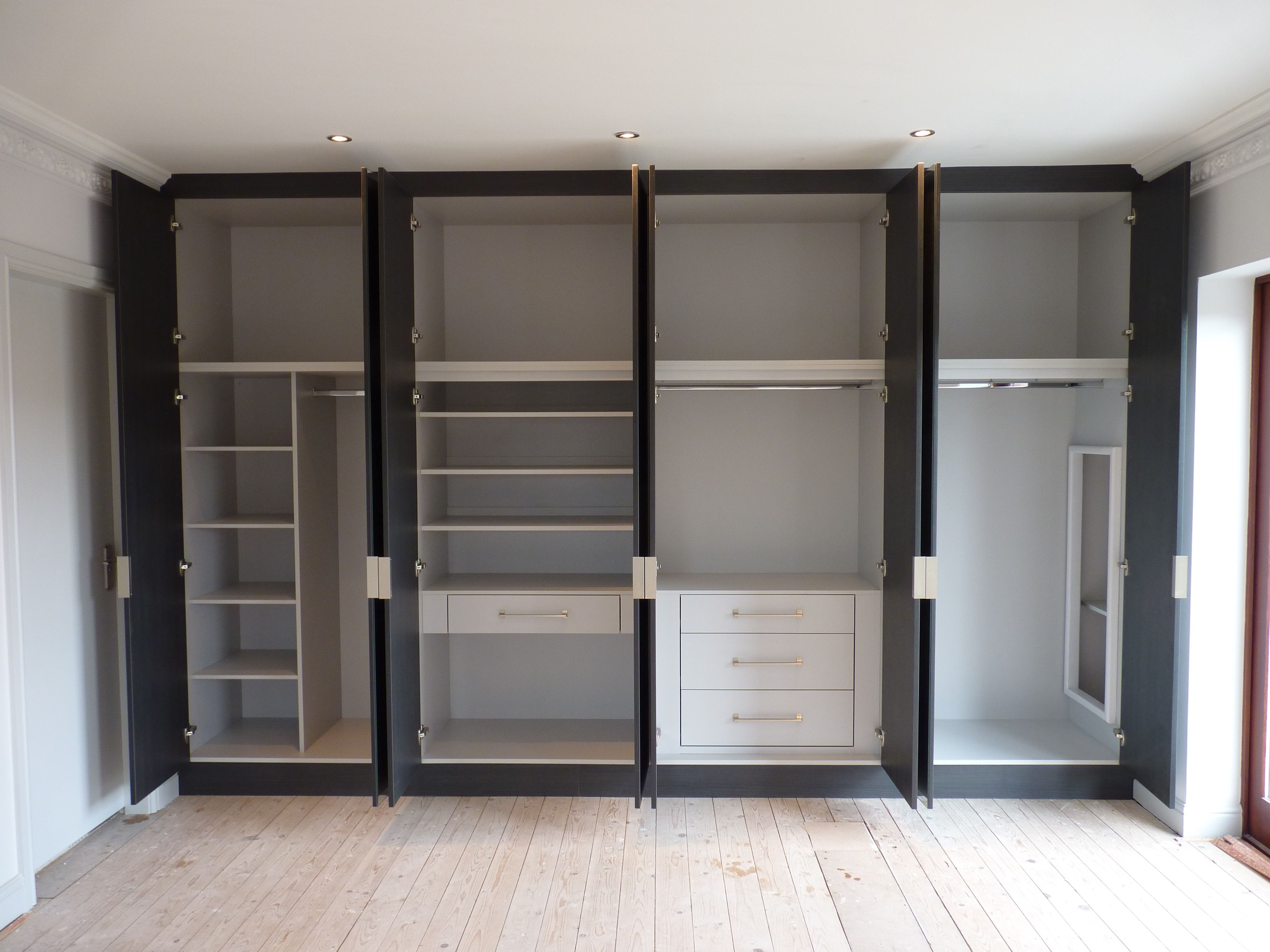 Drawers For Fitted Wardrobes Pertaining To Current Without Door Built In Wardrobe In White And Black Color Panel With (View 7 of 15)