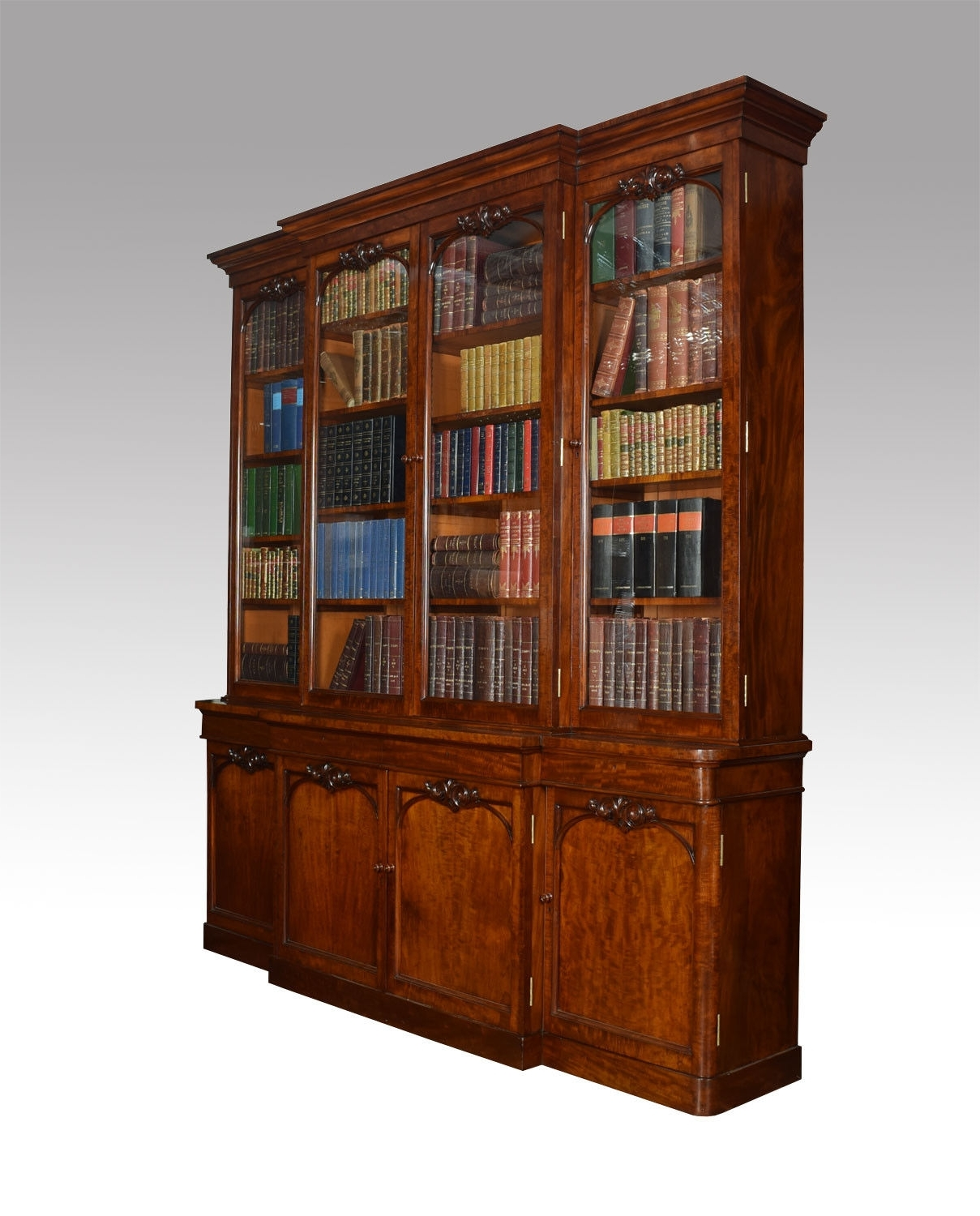 Early Victorian Mahogany Library Breakfront Secretaire Bookcase (C Within Preferred Georgian Breakfront Wardrobes (View 8 of 15)