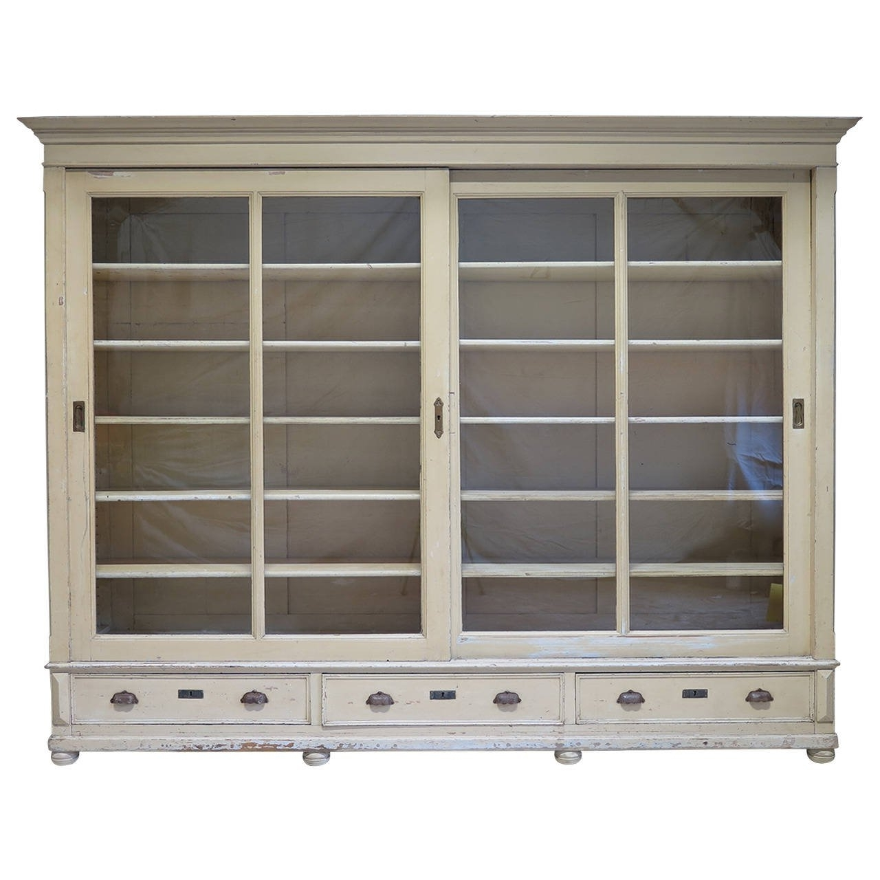 Elegant Bookcase With Sliding Glass Doors, France, Early 20Th In Favorite Bookcases With Sliding Glass Doors (Gallery 2 of 15)