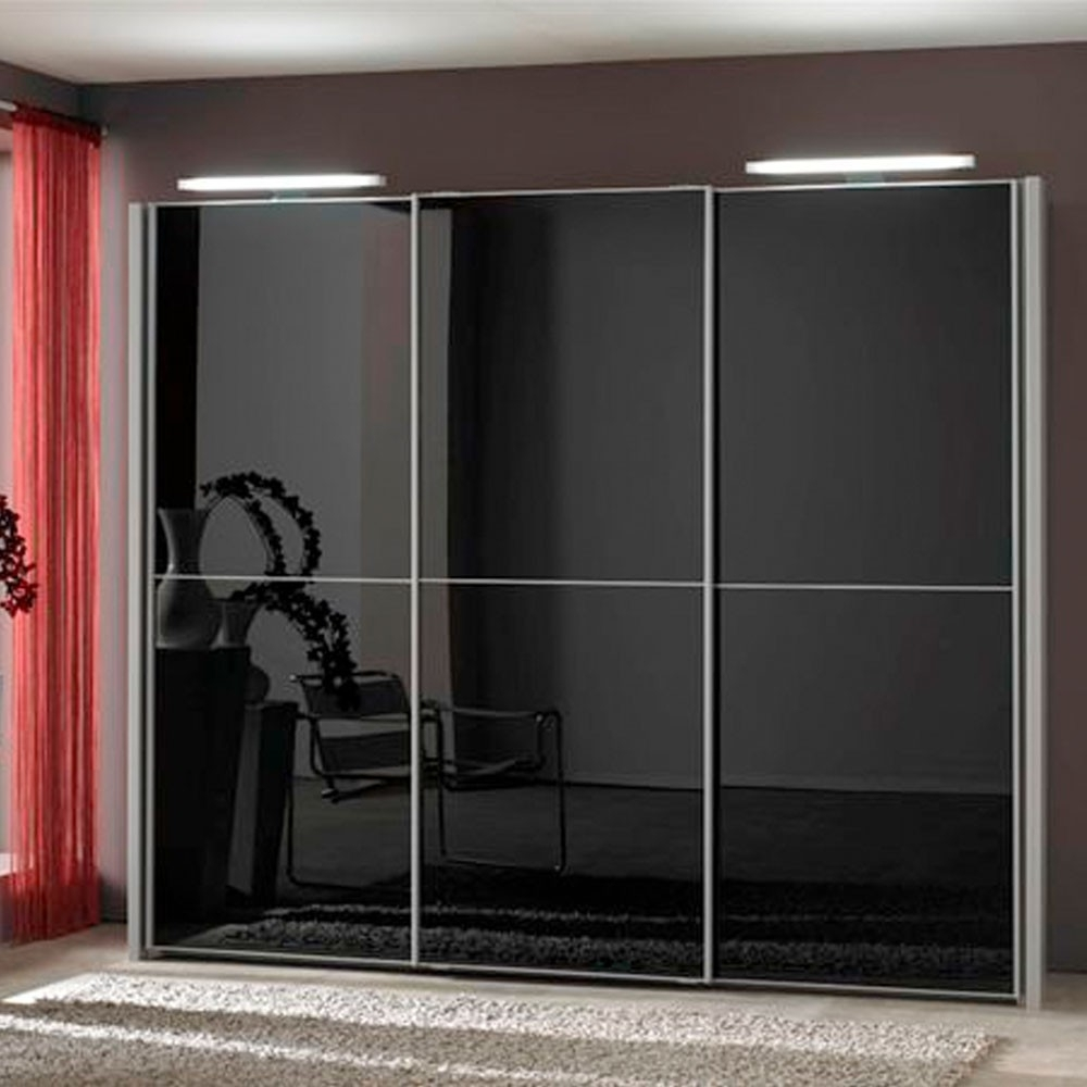 Engaging Black Glass Sliding Door Wardrobe Design Ideas Along With For Widely Used Dark Wood Wardrobes With Sliding Doors (View 3 of 15)