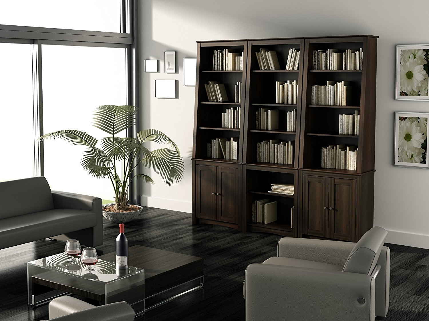 Espresso Bookcases Intended For Recent Amazon: Espresso Tall Slant Back Bookcase: Kitchen & Dining (Gallery 6 of 15)
