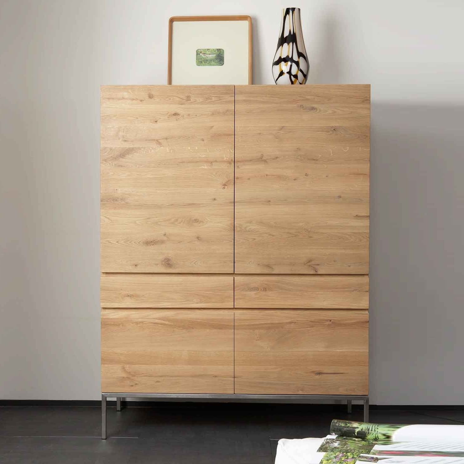 Ethnicraft Ligna Oak Storage Cupboard 4 Opening Doors / 2 Drawers With Preferred Oak Cupboards (Gallery 13 of 15)
