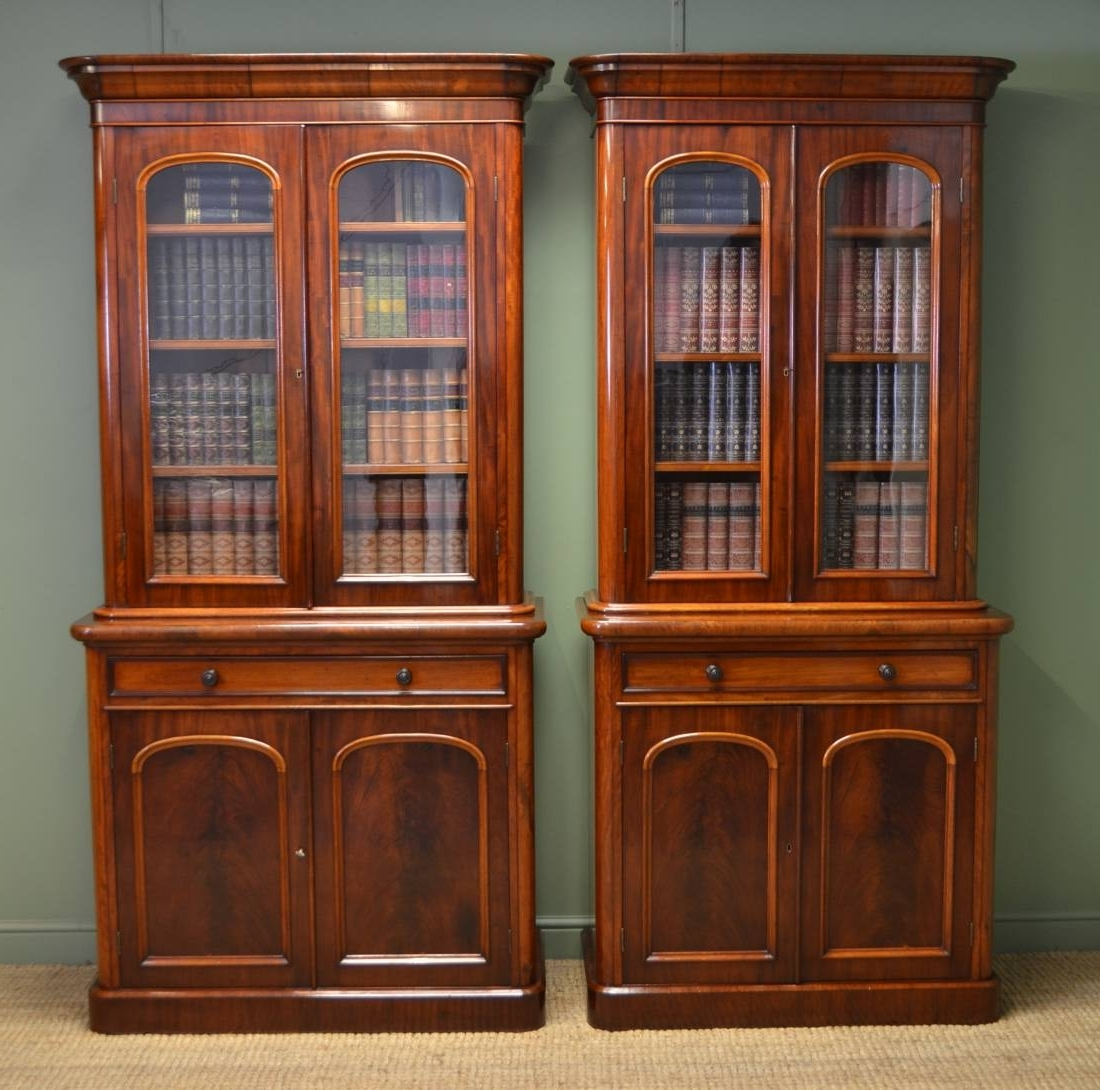 Fabulous Quality Unusual Pair Of Victorian Mahogany Antique In Fashionable Antique Bookcases (View 14 of 15)