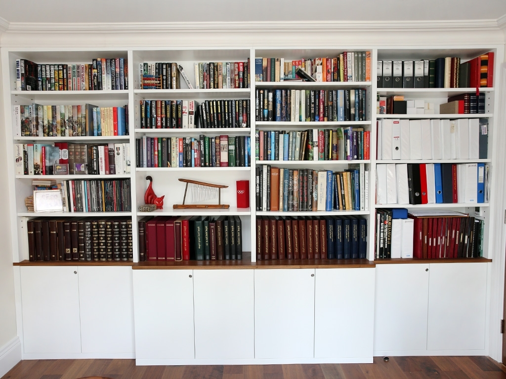 Famous 2 Bespoke Built In Shelving Bookshelves Made To Measure White In Fitted Book Shelves (View 3 of 15)