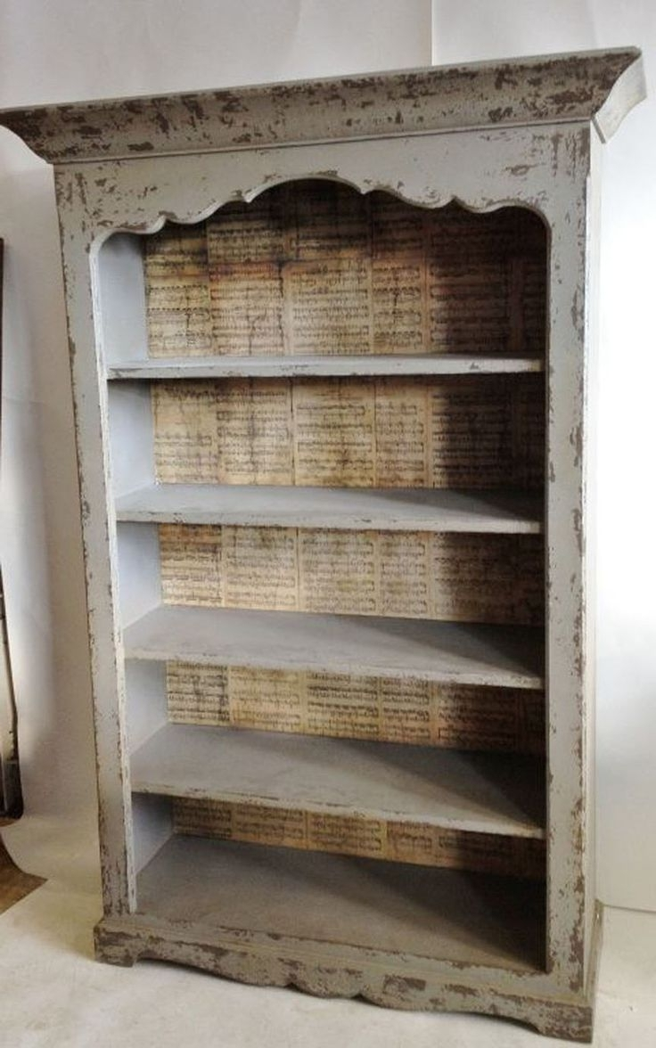 Famous Backless Bookshelves Regarding Furniture: Modern Backless Distressed Bookcase (View 4 of 15)