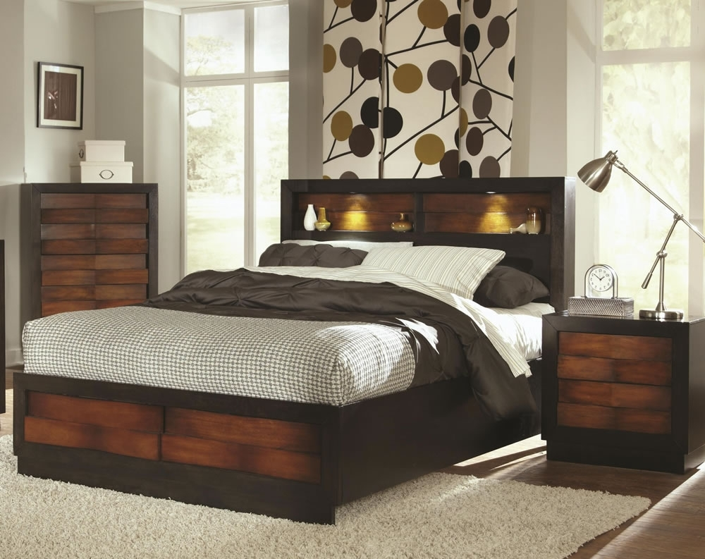 Famous Bed With Lighted Headboard Image Of Queen Storage Affordable Diy Inside Queen Size Bookcases Headboard (View 3 of 15)