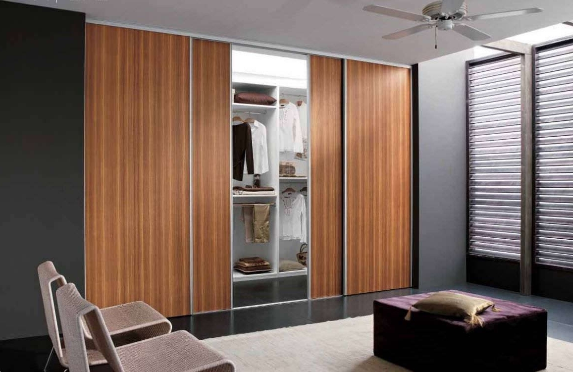 Famous Bedroom : Brilliant Brown Textured Wood Sliding Door Wardrobe Pertaining To Dark Wood Wardrobes With Sliding Doors (View 4 of 15)