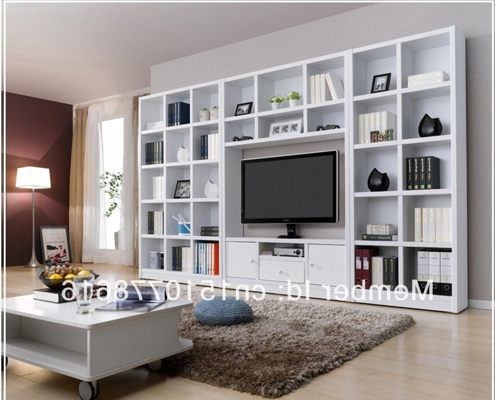 Famous Bookcases With Tv Regarding Tv Bookshelf Lighting And Lamps Bookcase Bookshelves With Space (View 7 of 15)