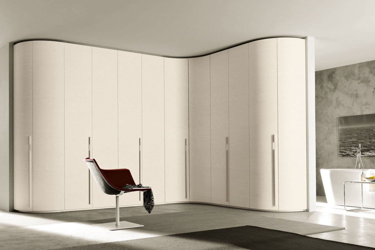Famous Corner Wardrobe / Contemporary / Wooden / Glossy Lacquered Wood With Curved Wardrobe Doors (View 7 of 15)