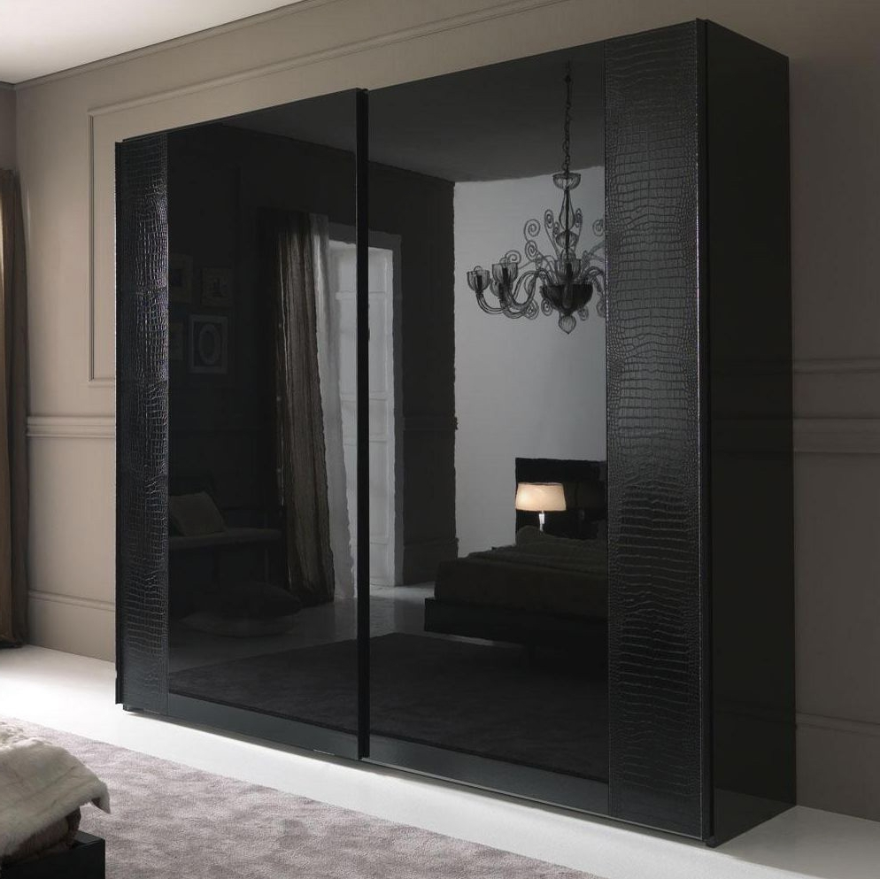 Famous Dark Wood Wardrobes With Sliding Doors In Nightfly Black 2 Door Sliding Wardrobe (View 5 of 15)