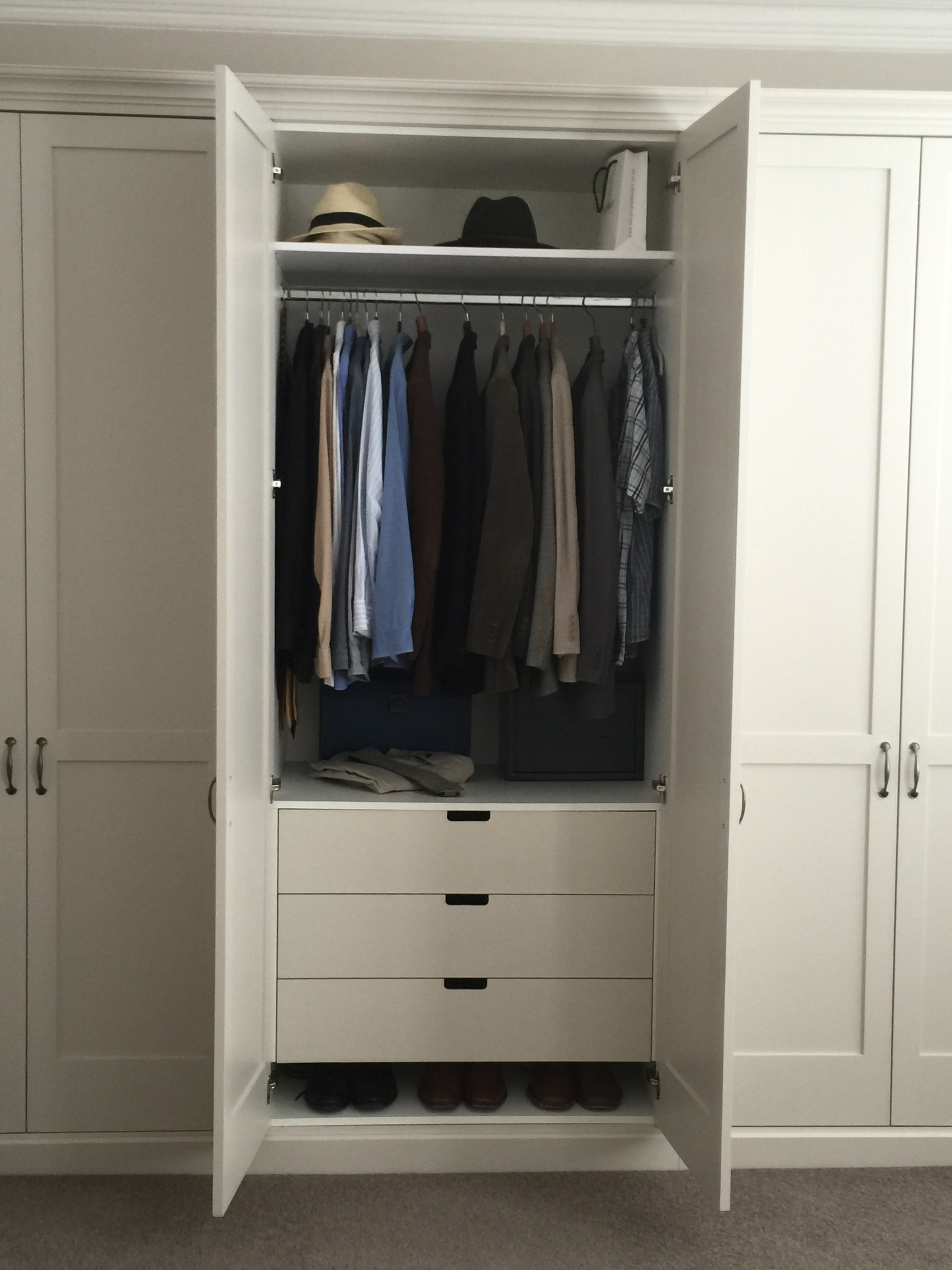 Featured Photo of Double Rail Wardrobes With Drawers