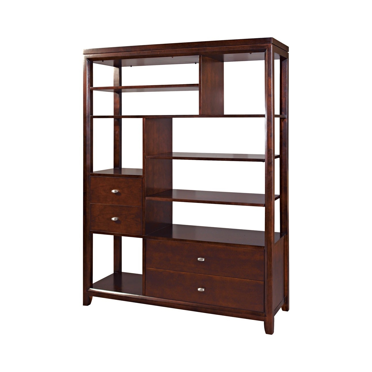 Famous Etagere Bookcases Regarding Hammary 912 939 Tribecca Etagere Bookcase In Root Beer – Homeclick (View 8 of 15)