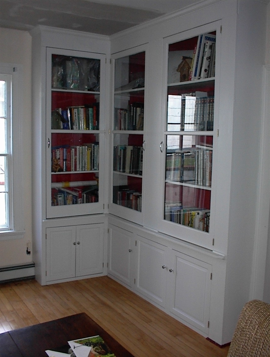 Famous Furniture Tall L Shaped White Stained Mahogany Wood Bookcase With Intended For Cupboard Bookcases (View 8 of 15)